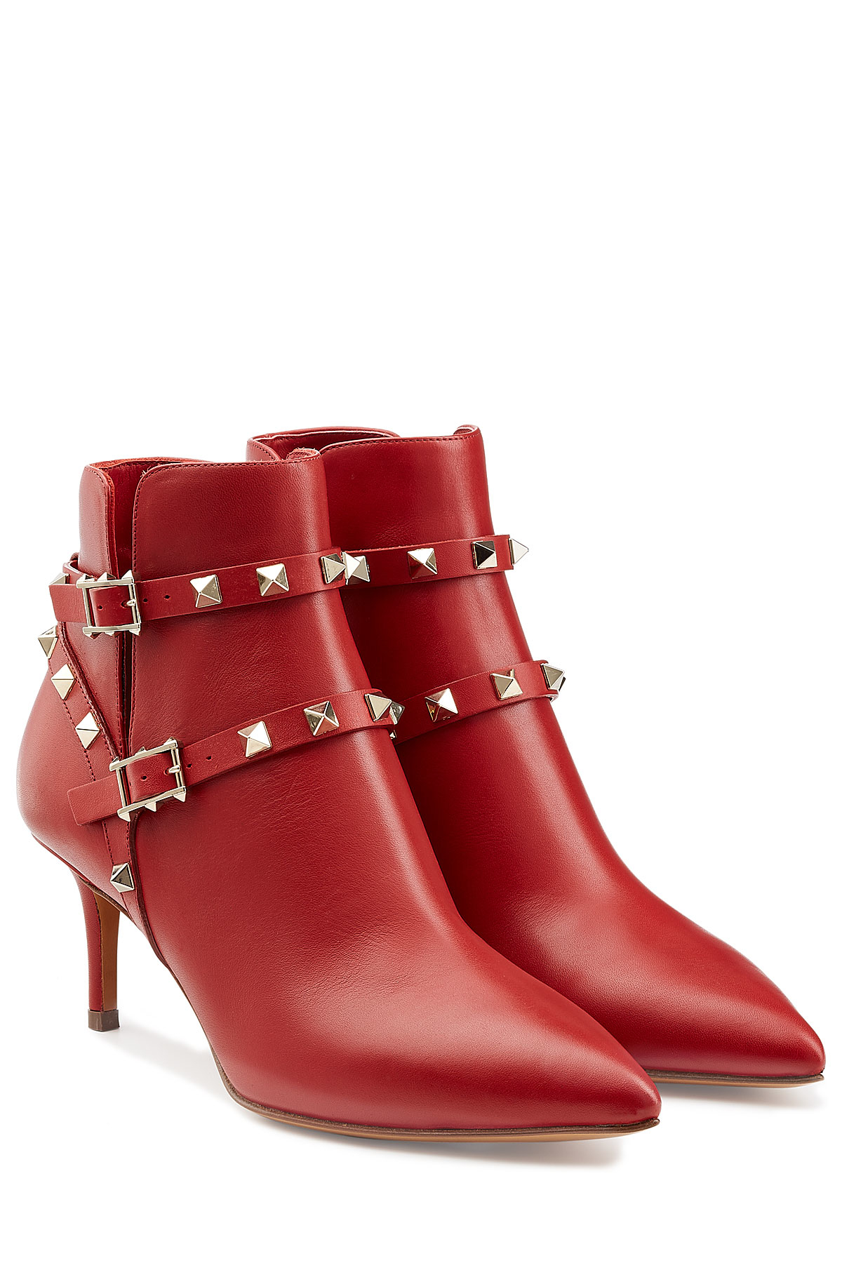 Valentino Rockstud Leather Ankle Boots - Red in Red | Lyst