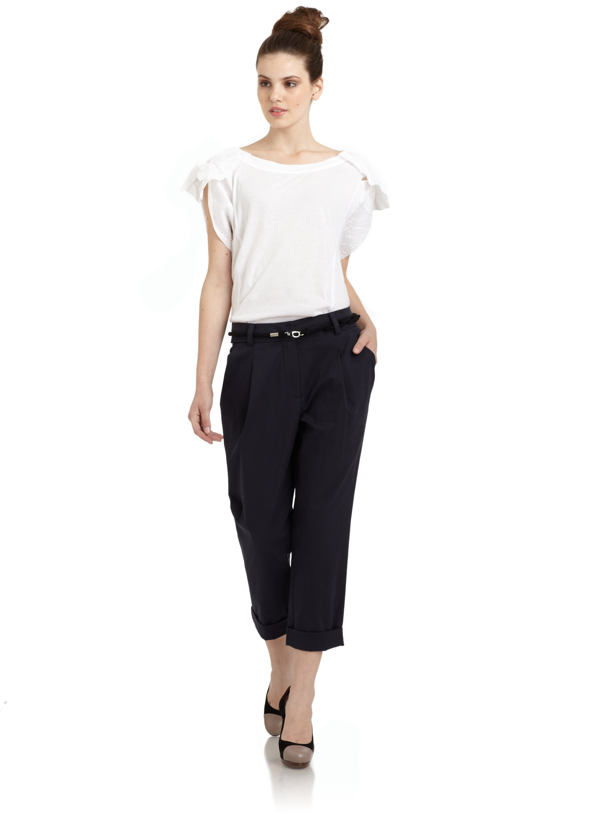 Lyst Hanii Y Knotted Sleeve T Shirt In White