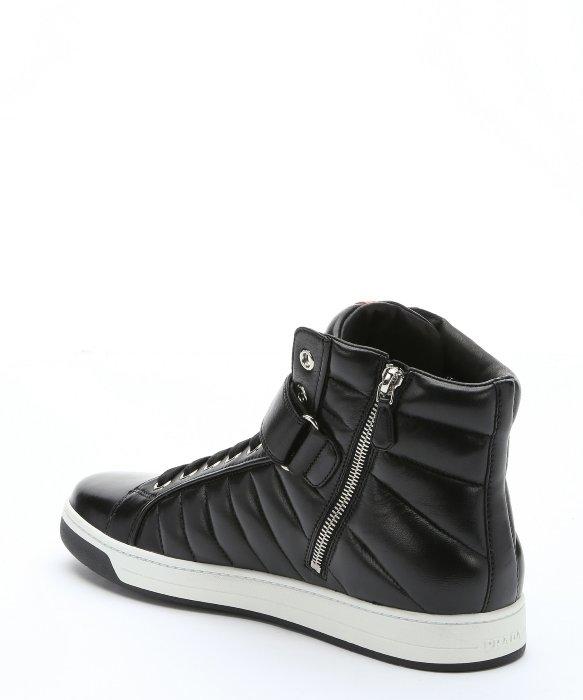 prada hobo bag grey - Prada Sport Black Leather 'avenue' High-top Sneakers in Black for ...