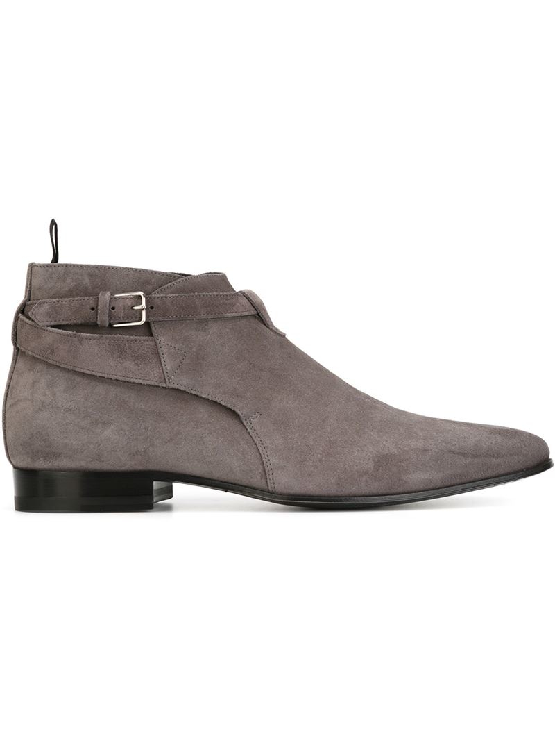 saint laurent london ankle boots in gray for men grey lyst. Black Bedroom Furniture Sets. Home Design Ideas