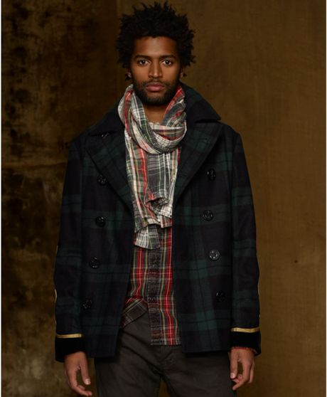Denim Amp Supply Ralph Lauren Soutache Plaid Pea Coat In