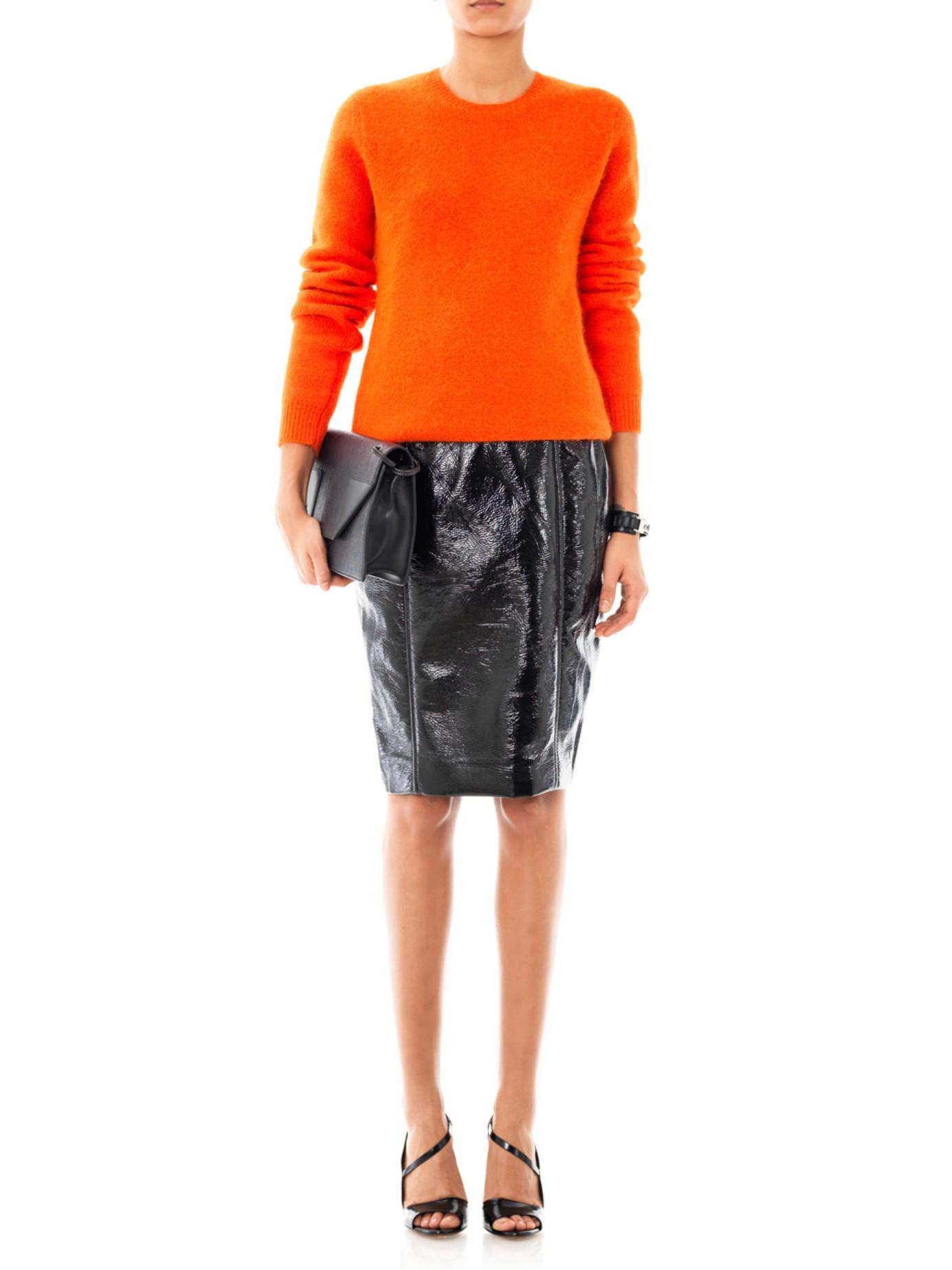 jonathan saunders elina vinyl pencil skirt in black lyst