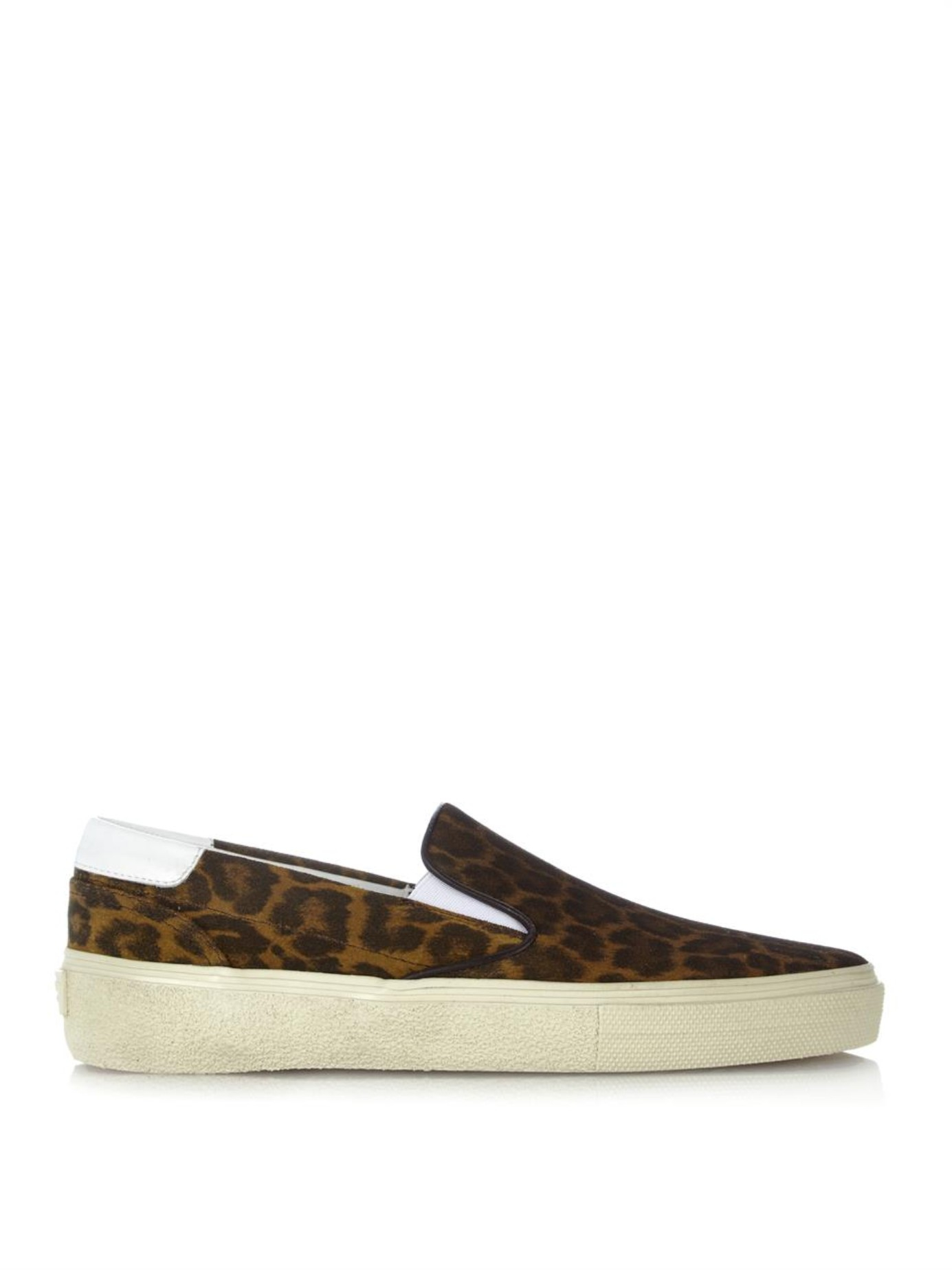 dbc4126b17b Saint Laurent Leopard-Print Suede Skate Sneakers - Lyst