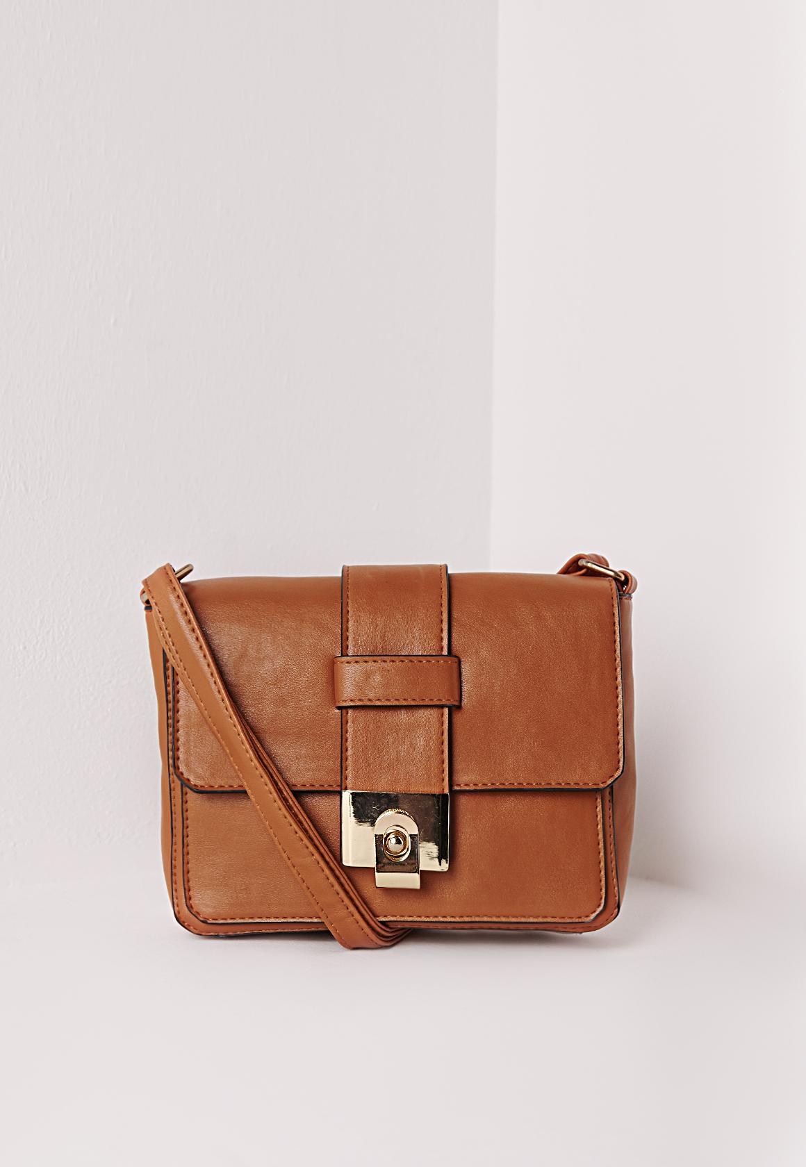 Missguided Mini Buckle Crossbody Bag Tan in Brown