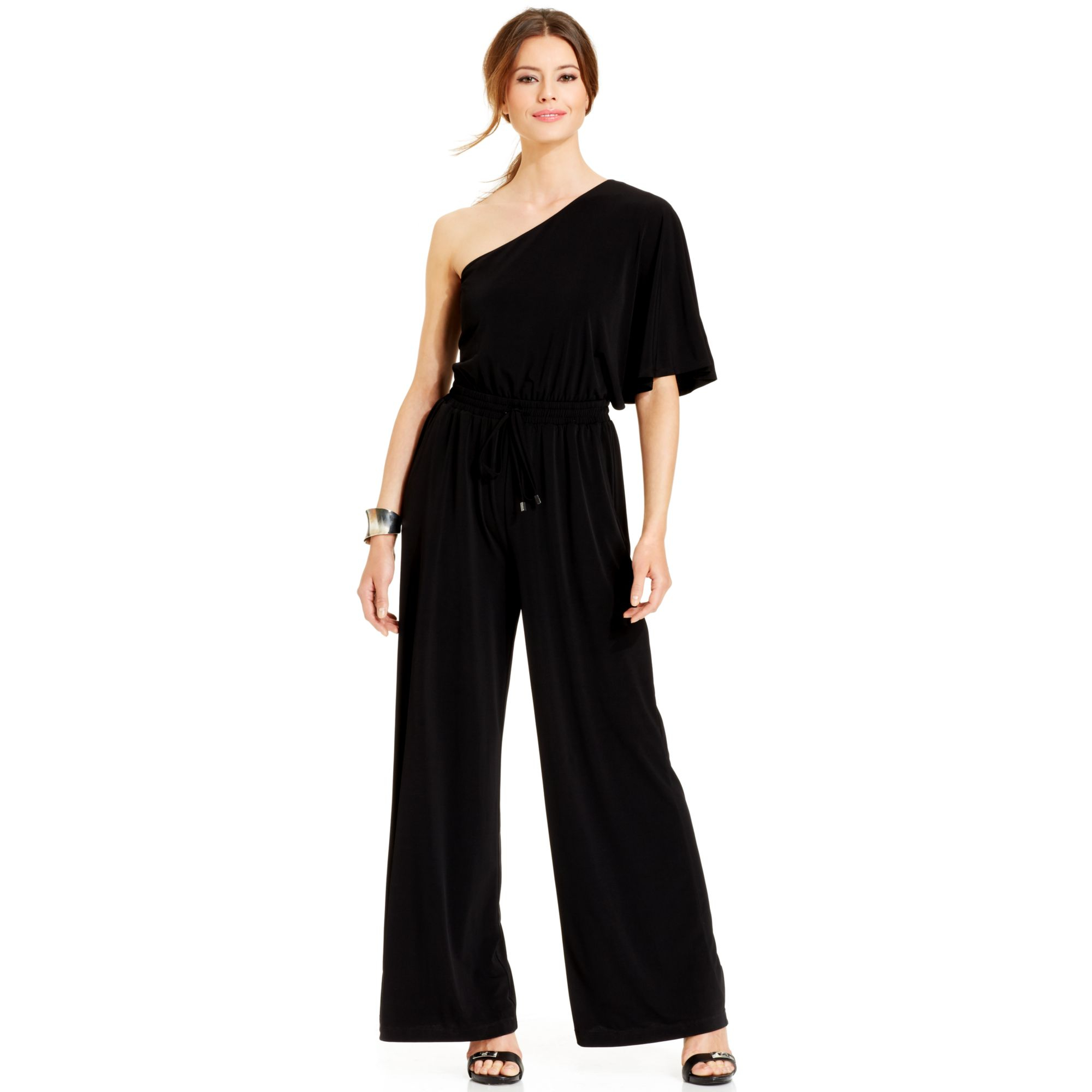 9273a281ba9 Lyst - Vince Camuto Wide Leg One Shoulder Jumpsuit in Black
