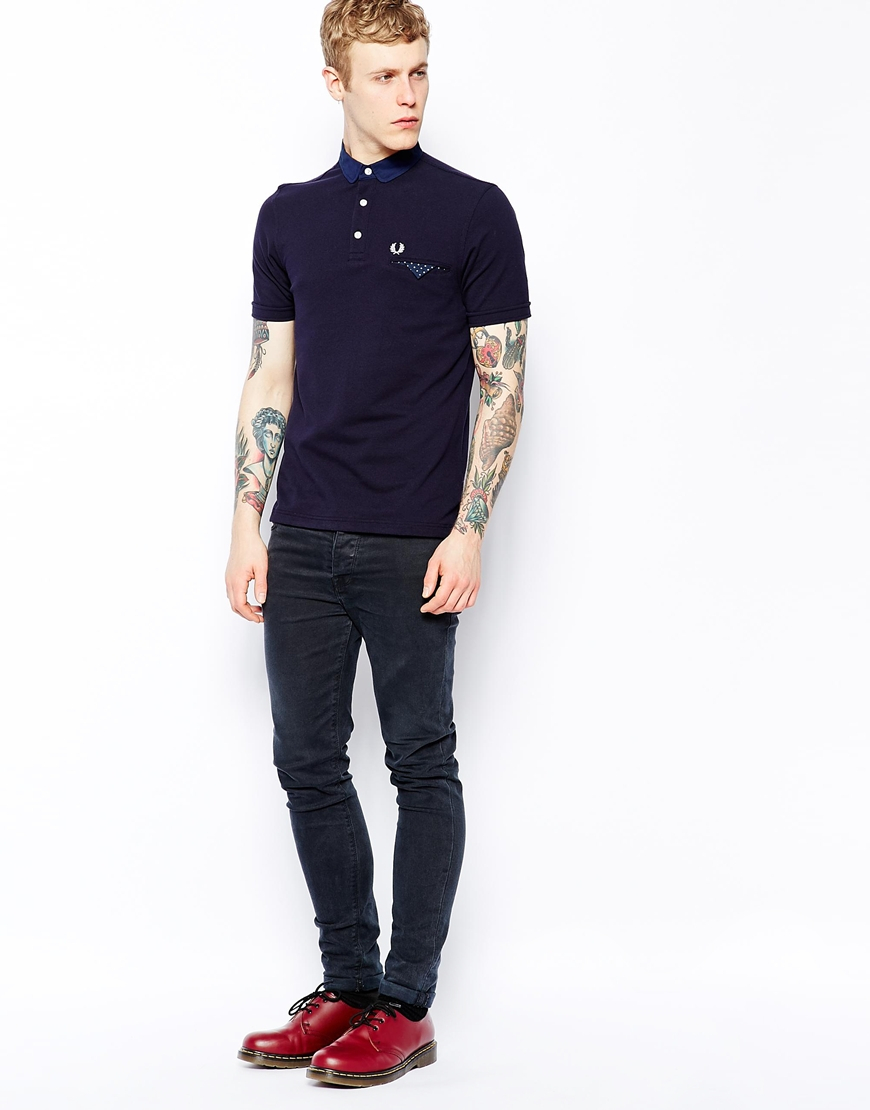 79cf49b78 Fred Perry Polo with Polka Dot Trim in Slim Fit in Blue for Men - Lyst