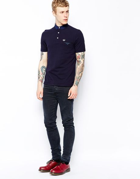 fred perry polo with polka dot trim in slim fit in blue. Black Bedroom Furniture Sets. Home Design Ideas