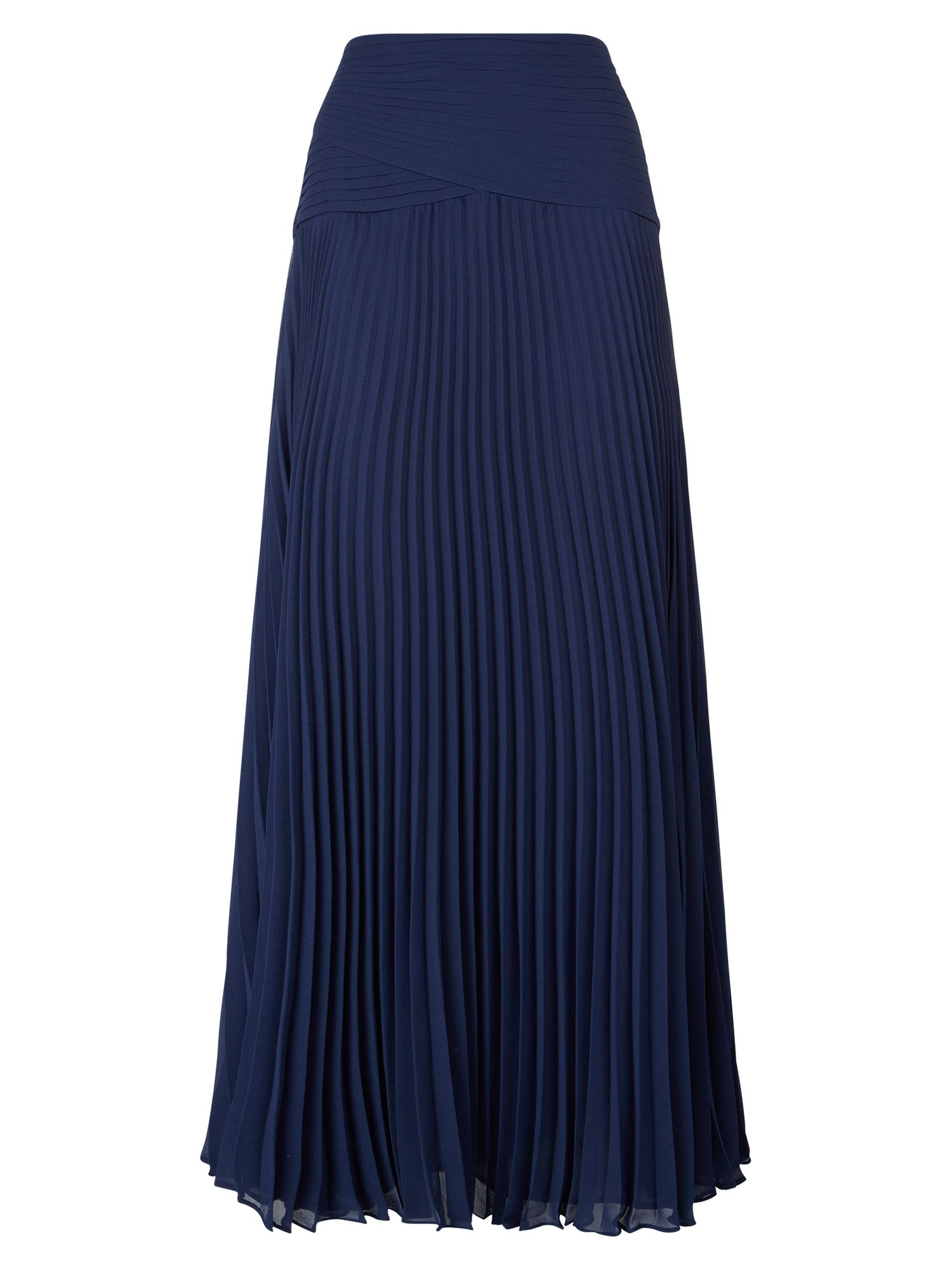 Jacques vert Navy Pleated Maxi Skirt in Blue | Lyst