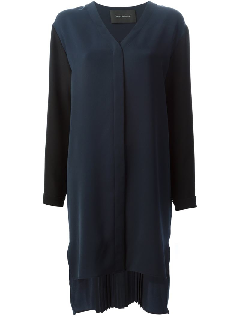Lyst cedric charlier pleated back shirt dress in blue for Black pleated dress shirt