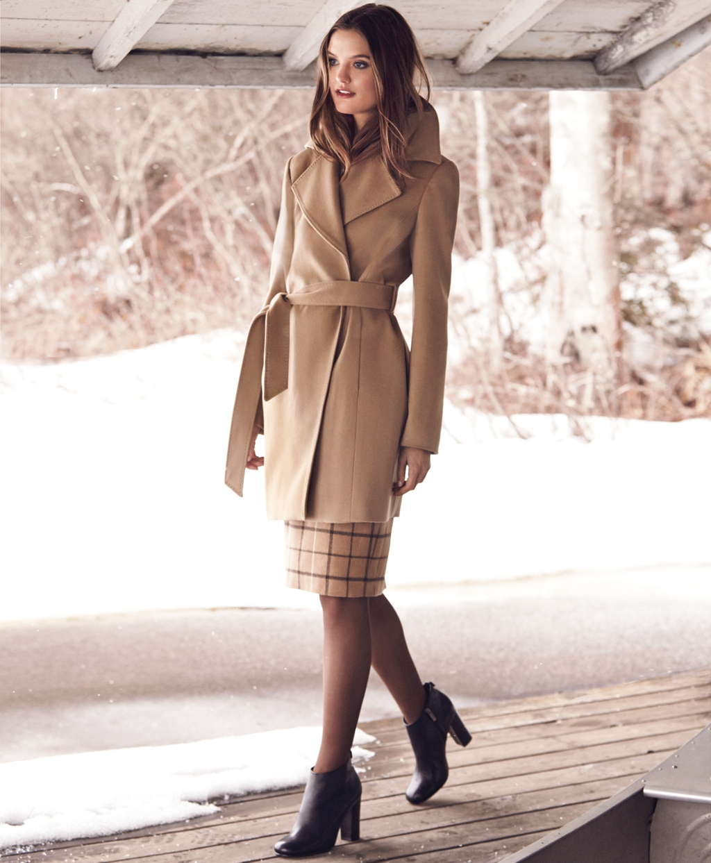 3d99ad289280c1 Lyst - Brooks Brothers Camel Hair Windowpane Pencil Skirt in Natural