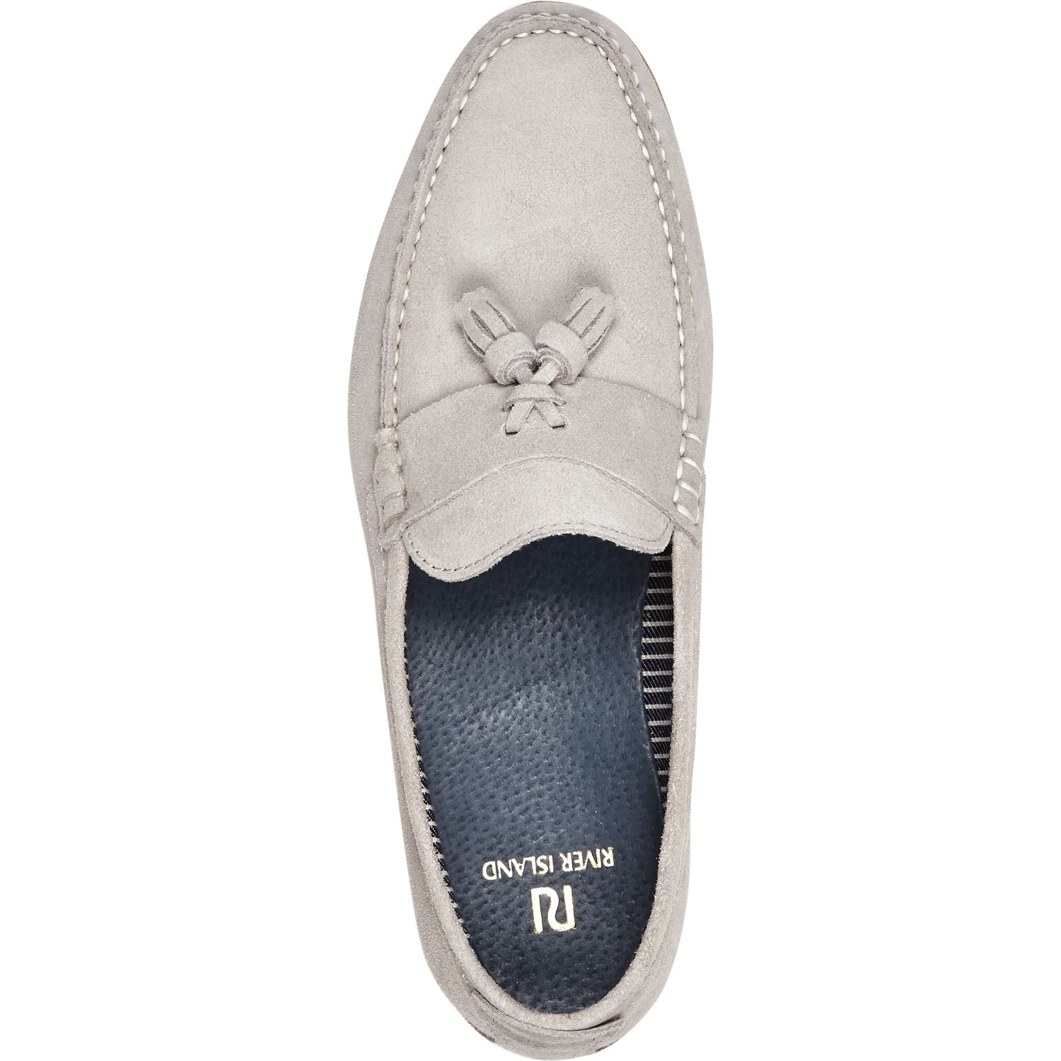 51206b64856 River Island Light Grey Suede Tassel Loafers in Gray for Men - Lyst
