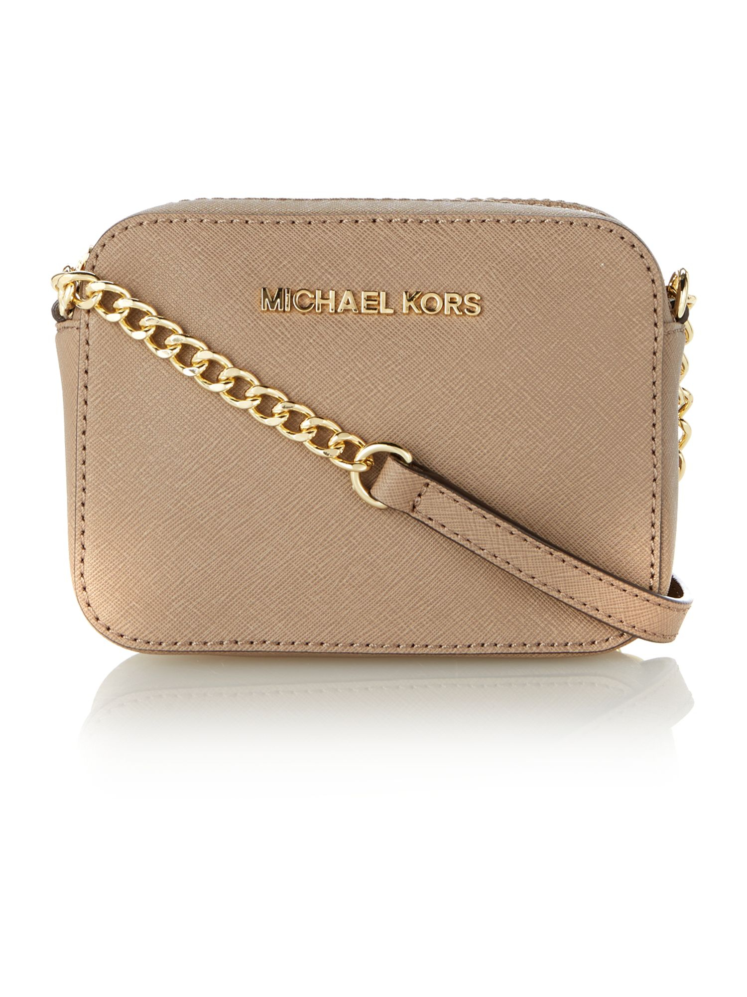 Michael Kors Jet Set Travel Sand Small Chain Cross Body Bag in Natural
