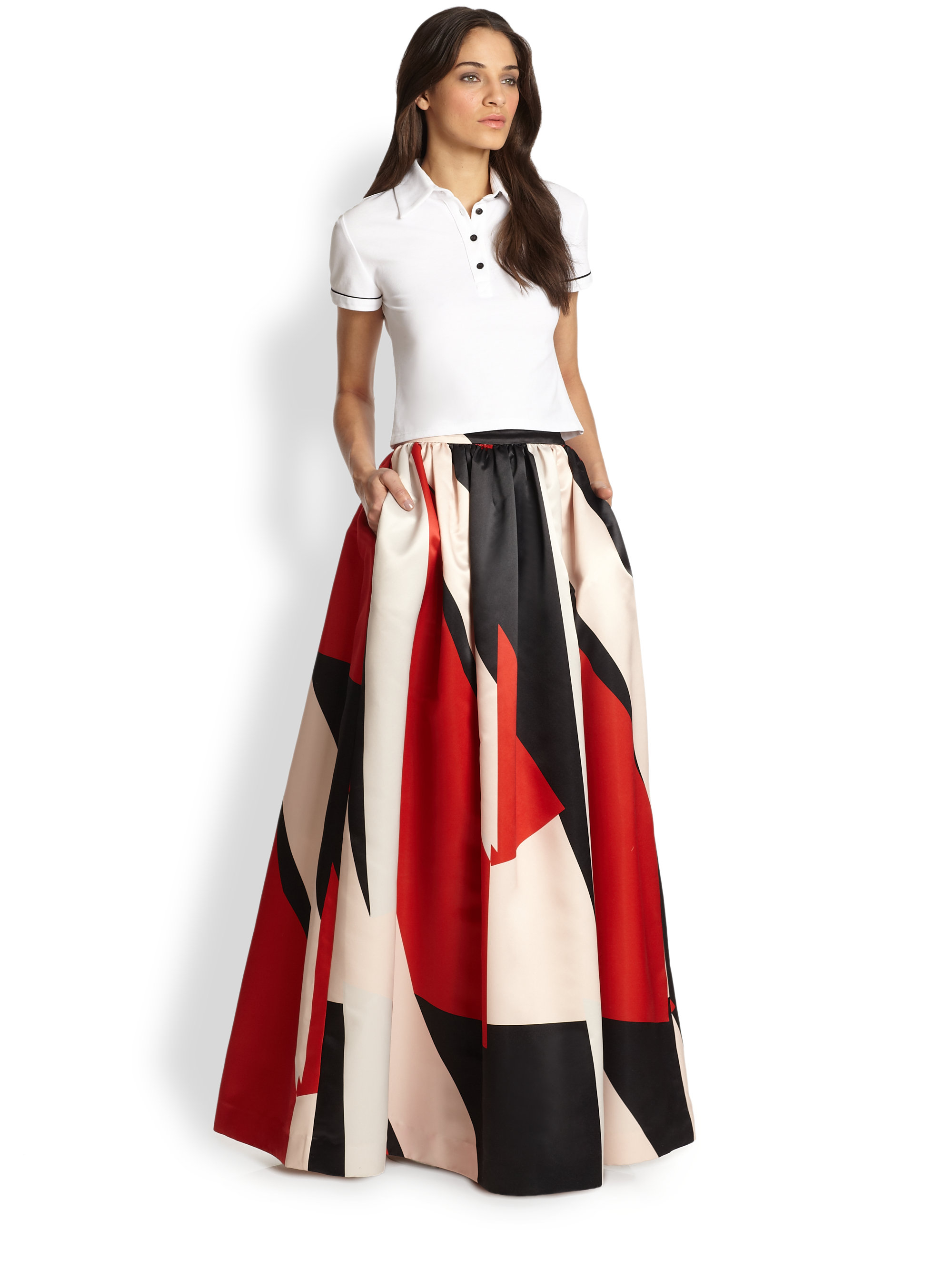 Alice   olivia Abella Long Flared Skirt in Red | Lyst