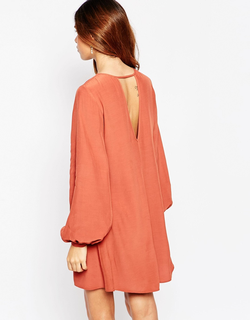 Asos Pretty Dress With Soft Lace Up Front In Natural Lyst