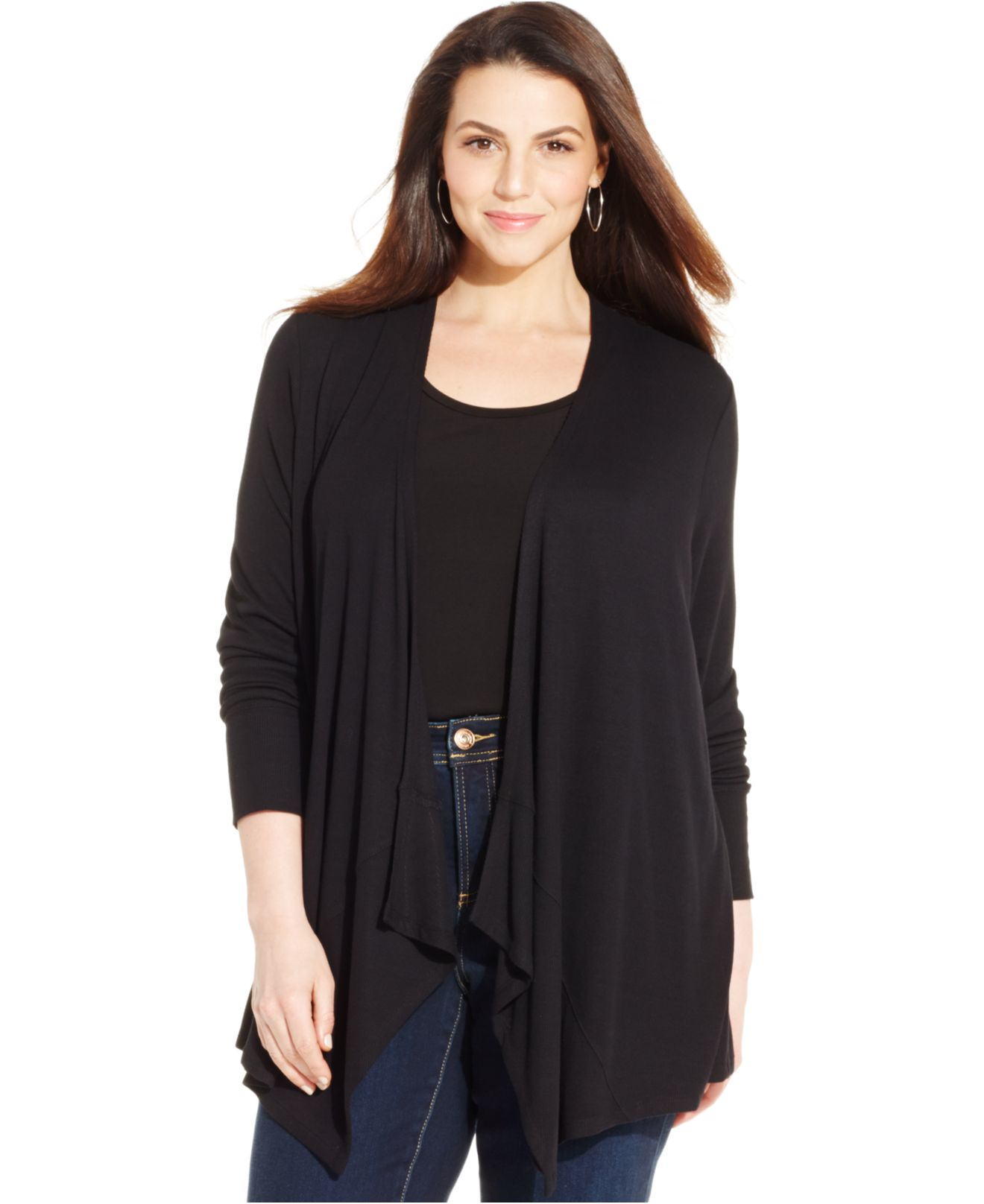 Inc international concepts Plus Size Draped Open-front Cardigan in ...