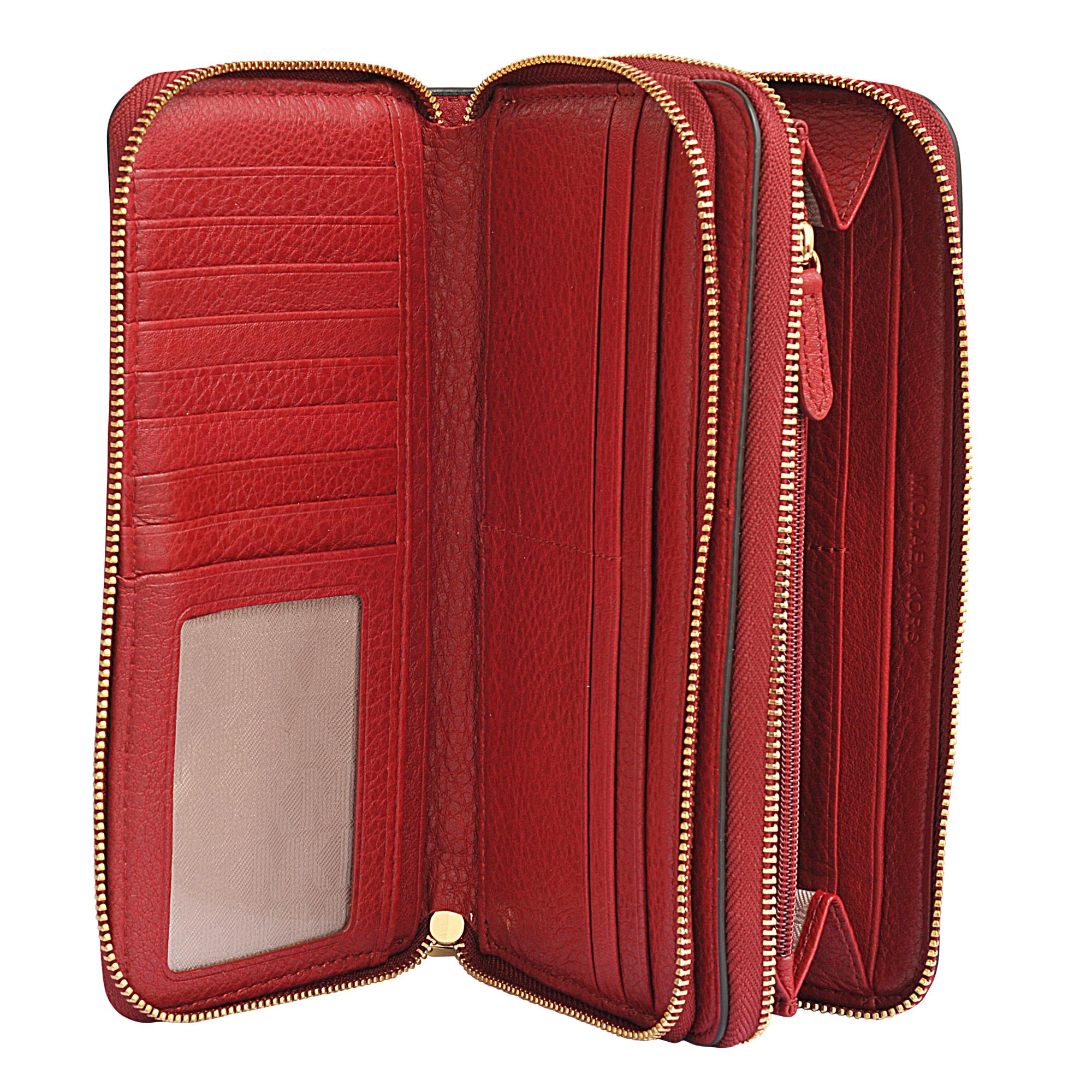 fe784234173769 MICHAEL Michael Kors Adele Double Zip Wallet in Red - Lyst