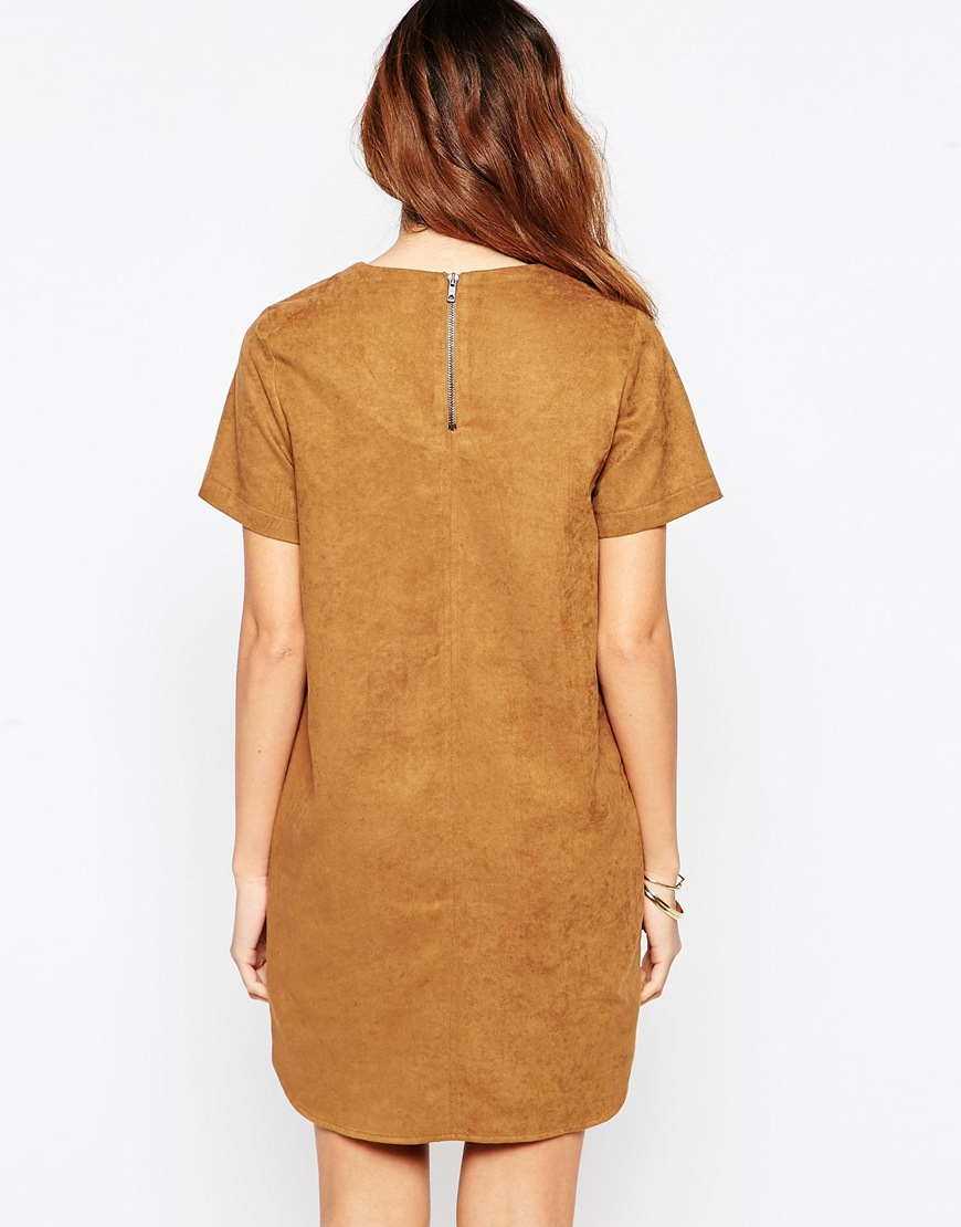 7c33a5b4ac04 Lyst - ASOS Suedette Fringed T-shirt Dress in Brown
