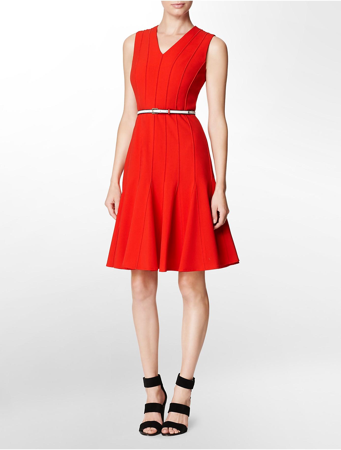 Calvin Klein V Neck Belted Fit Flare Dress In Red Lyst