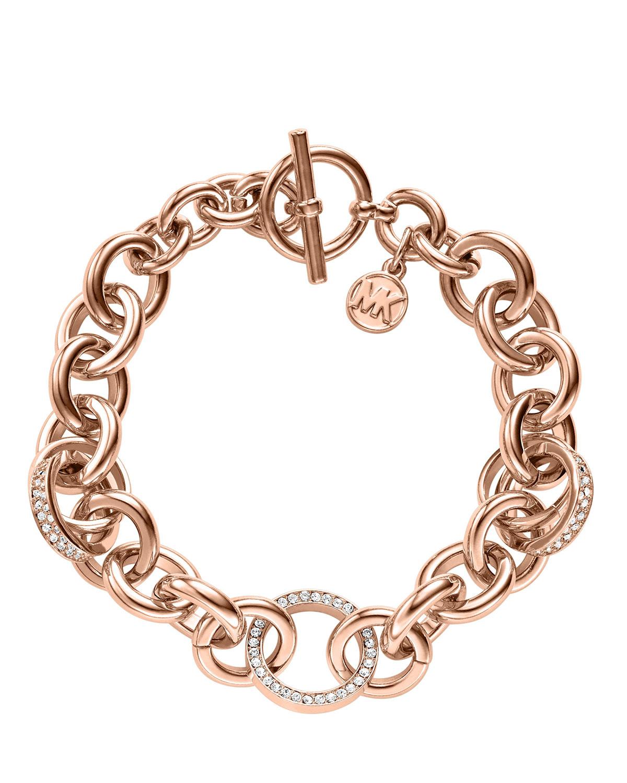 michael kors pave link bracelet golden in gold