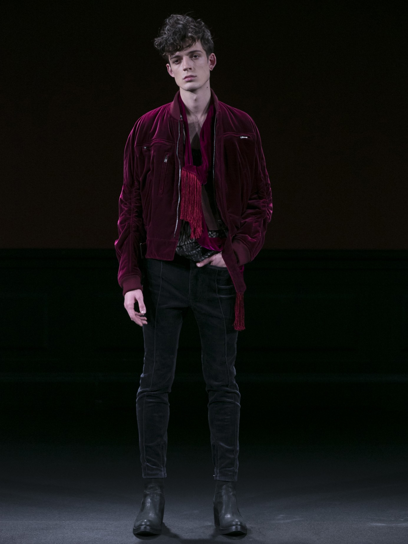 52a0d03a9 Haider Ackermann Purple Gathered Sleeve-detail Velvet Bomber Jacket for men