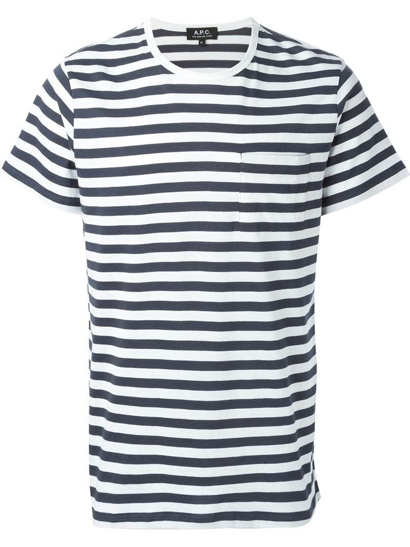 A p c striped t shirt in gray for men lyst for Apc white t shirt