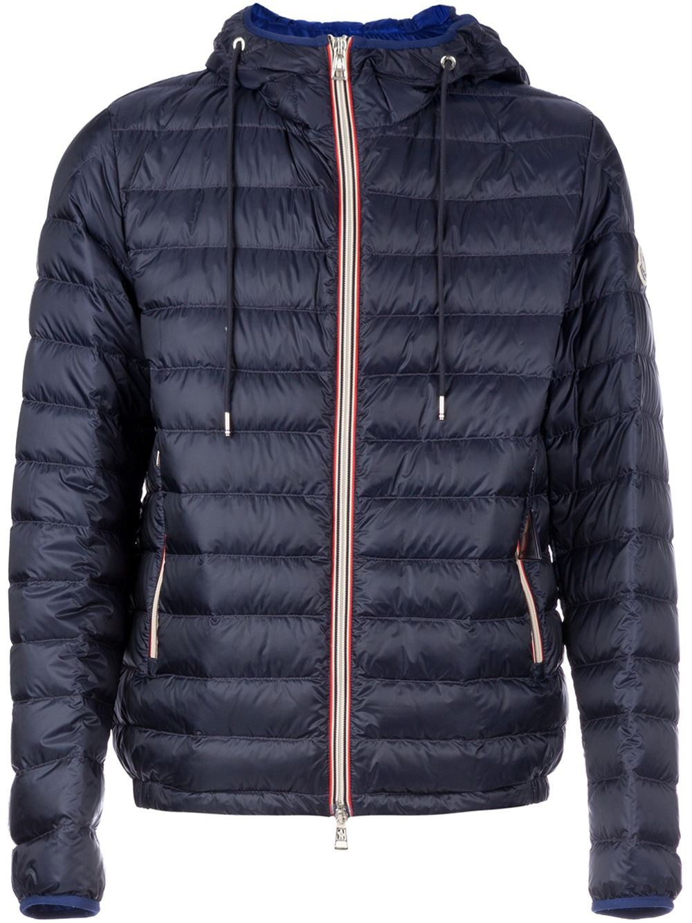Blue padded jacket featuring black popper buttons and zip, two front pockets, elasticated cuff and adjustable elastic sides.