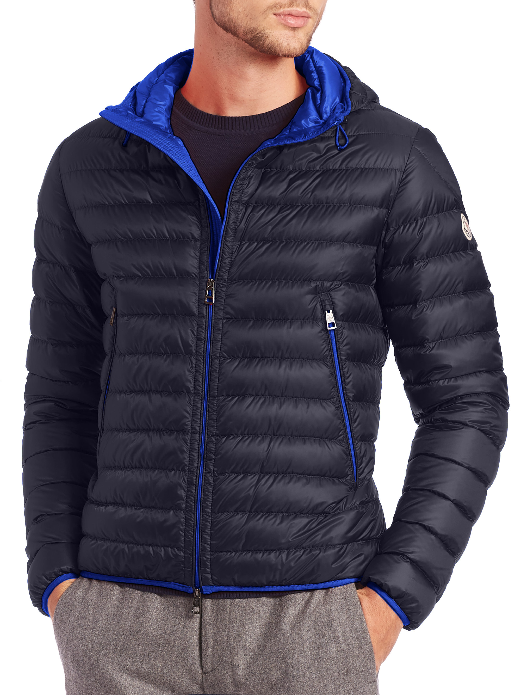 moncler mir puffer jacket in blue for men lyst. Black Bedroom Furniture Sets. Home Design Ideas