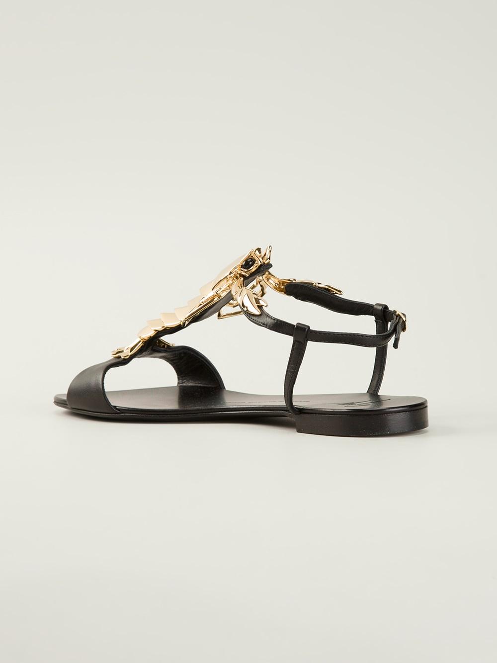 b148760f240ec3 Lyst - Giuseppe Zanotti Lobster Flat Sandal in Metallic