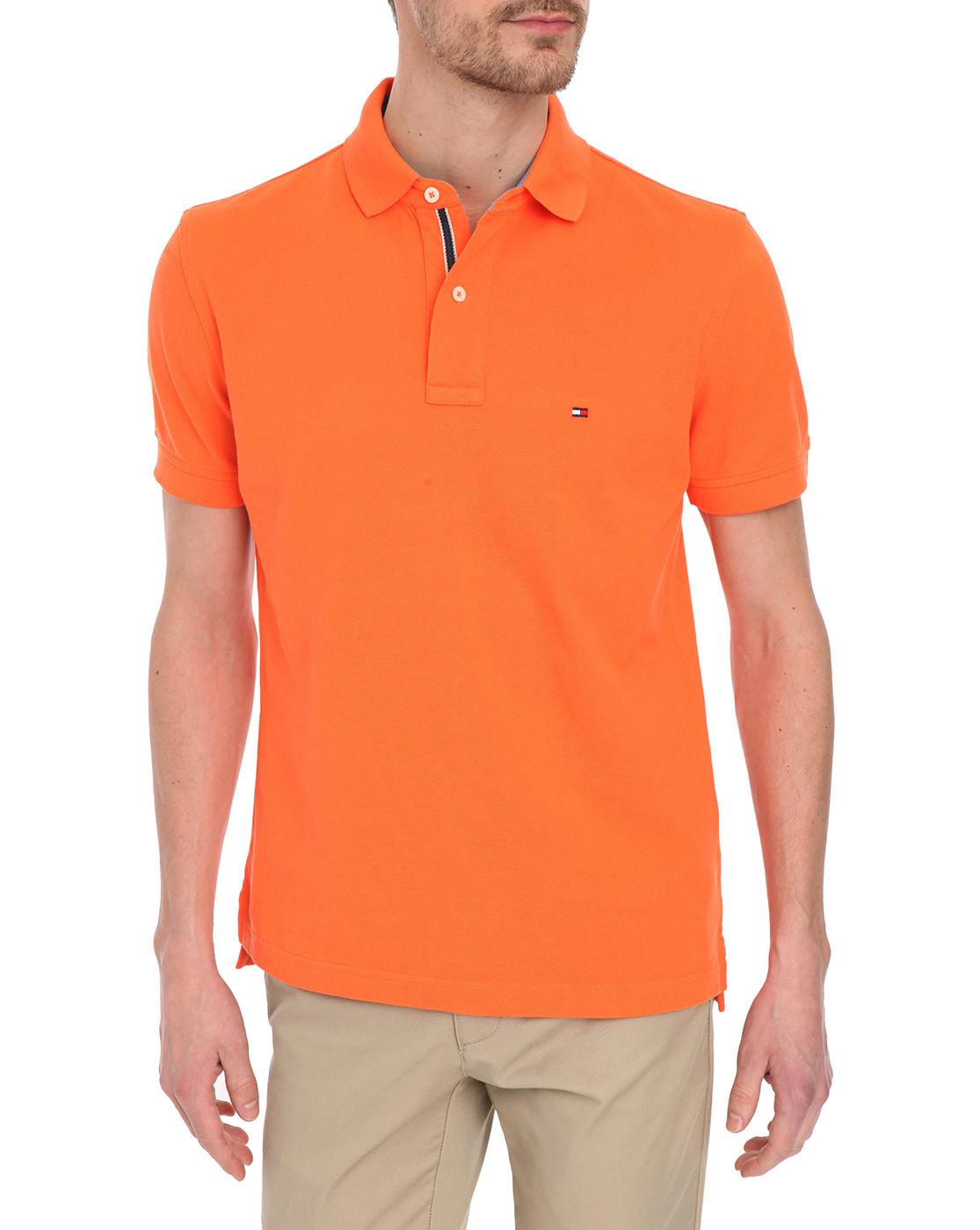 tommy hilfiger orange classic flag polo shirt in orange for men lyst. Black Bedroom Furniture Sets. Home Design Ideas