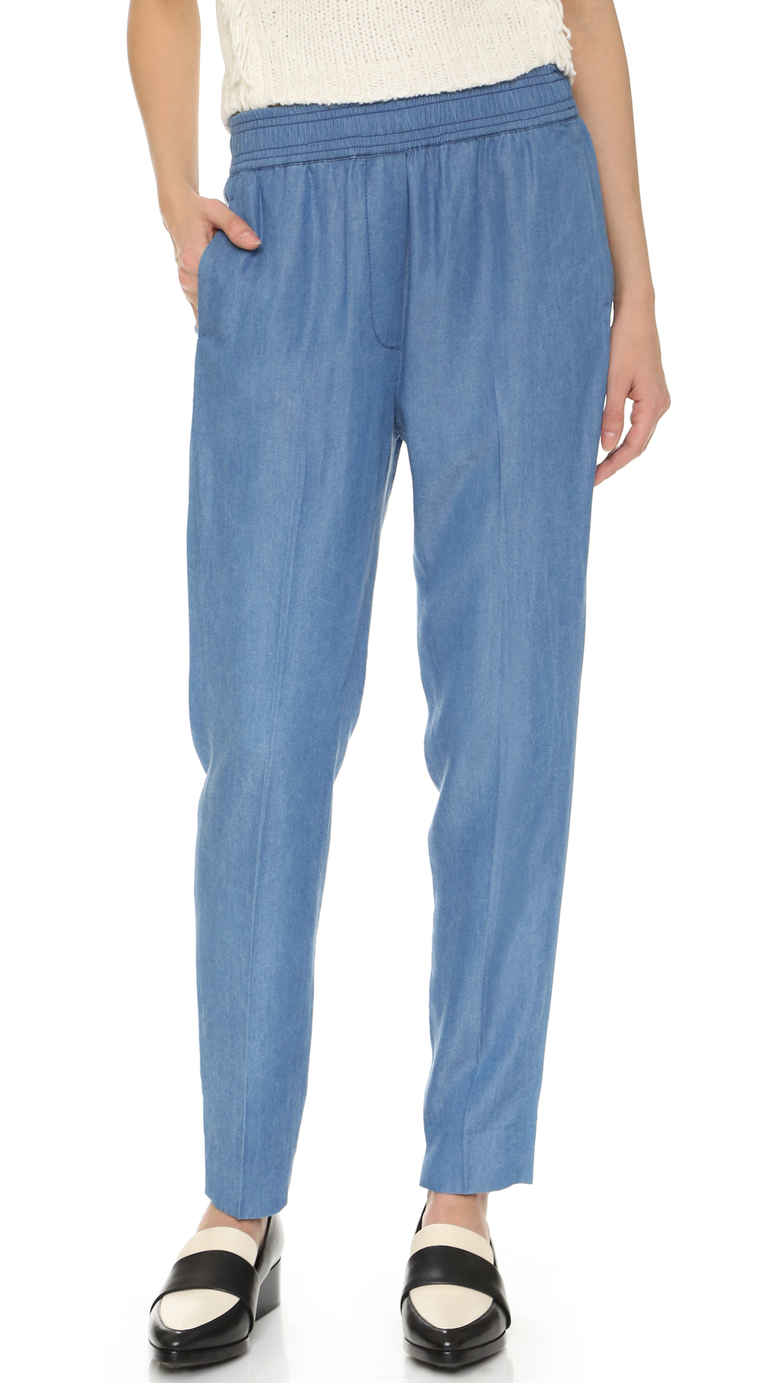 Lyst 3 1 phillip lim chambray pants in blue for Chambray jeans