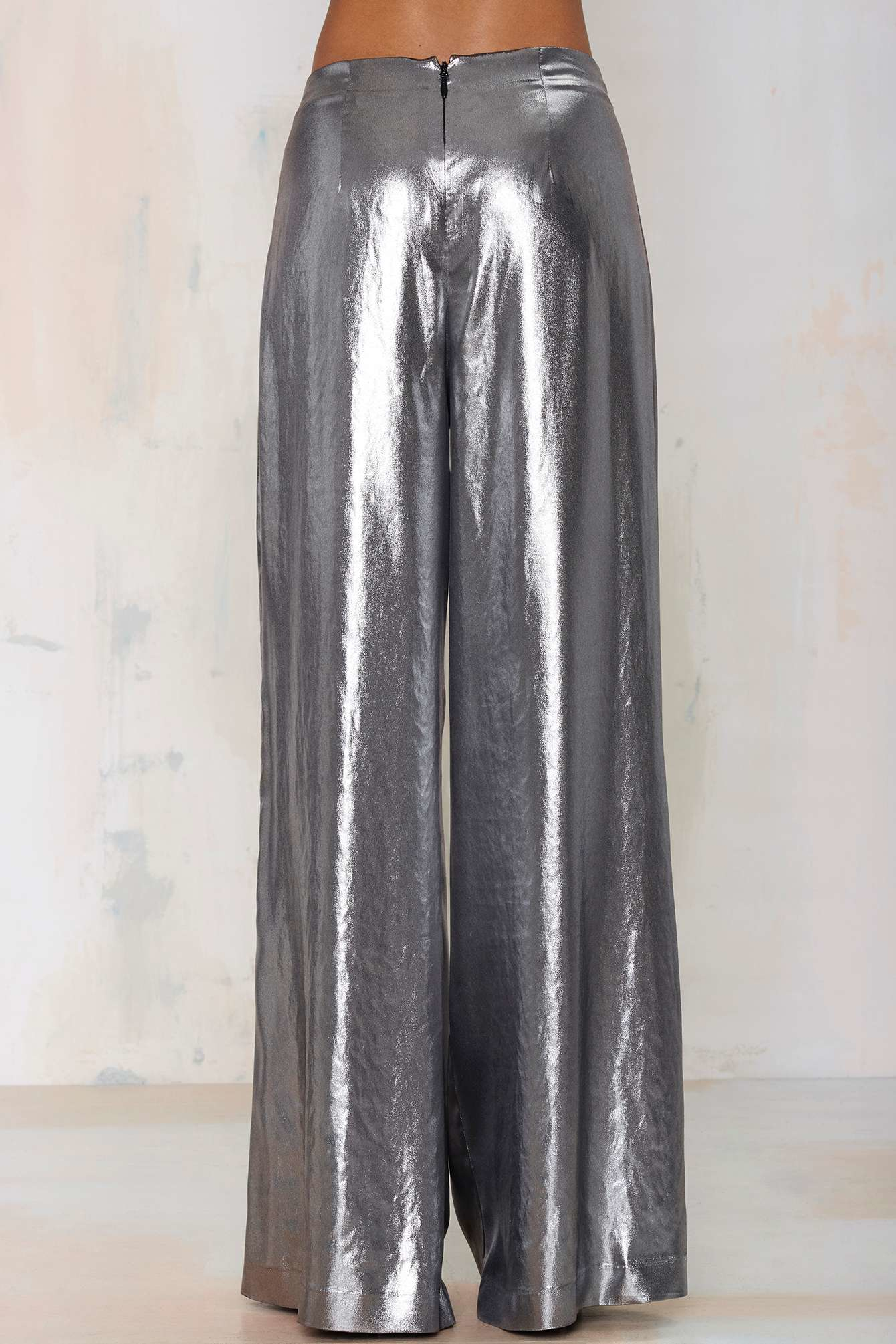 Nasty Gal Liquid Courage Wide Leg Pants In Silver