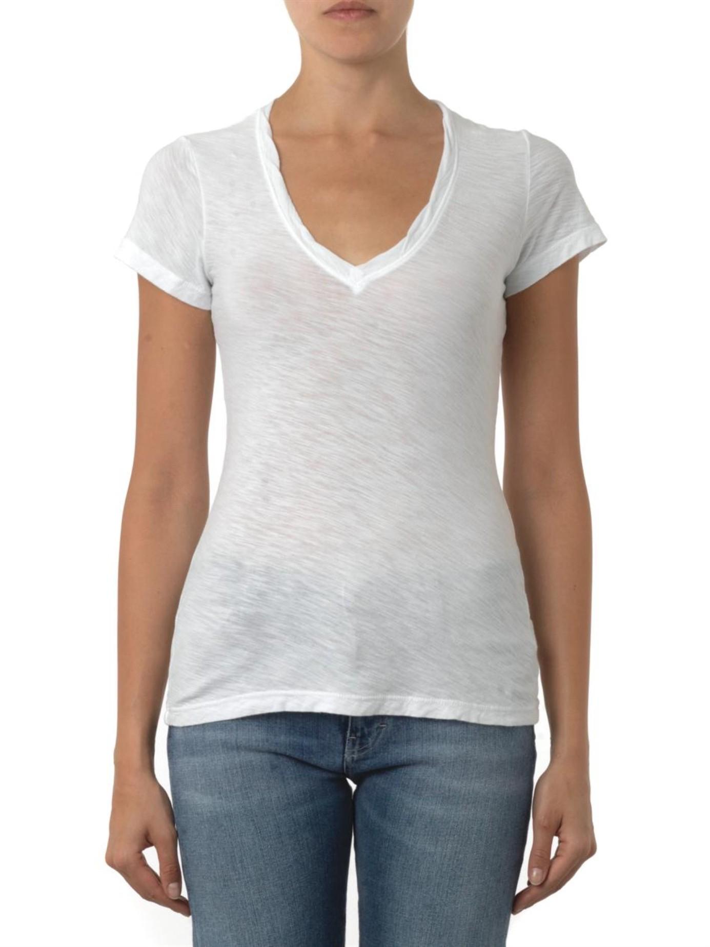 7c9c9034c42 James Perse V-neck Slub-cotton T-shirt in White - Lyst
