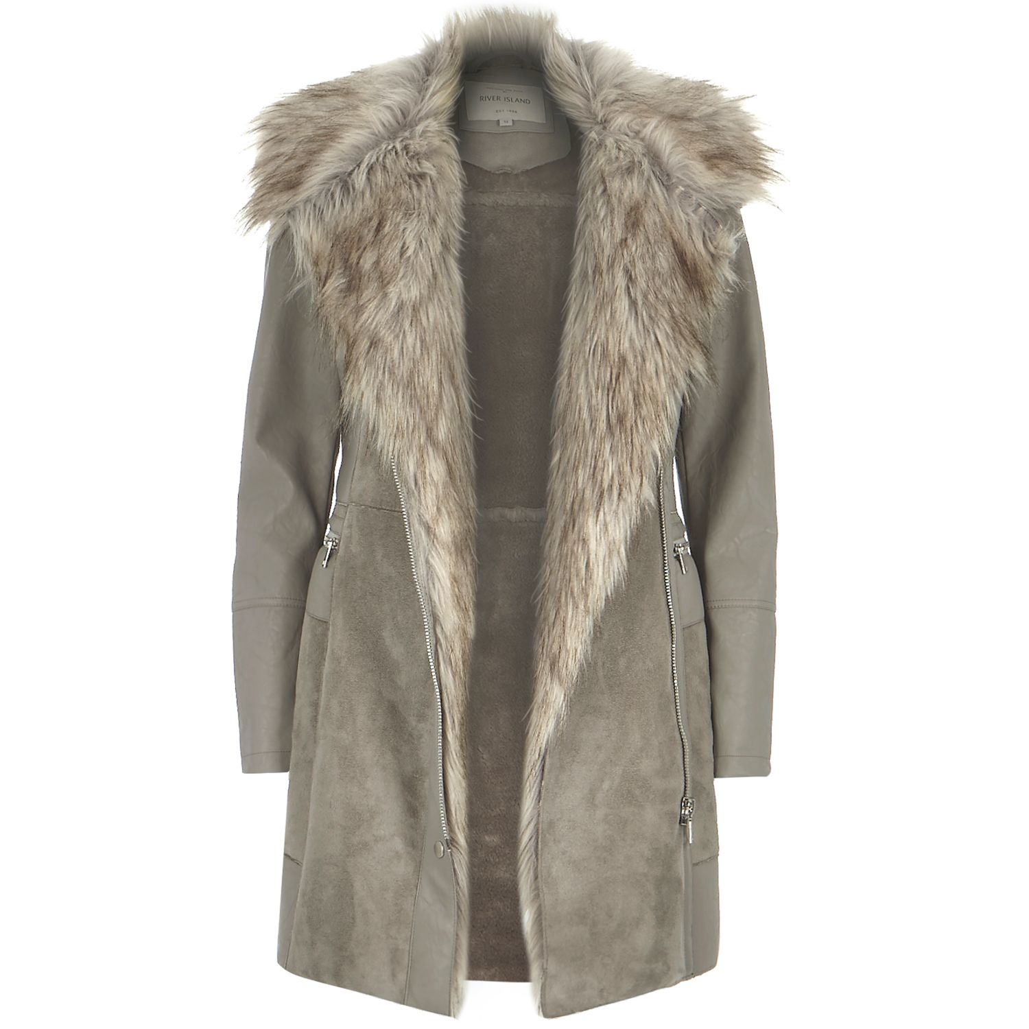 b02906ca526 River Island Gray Grey Leather-look And Faux Suede Jacket