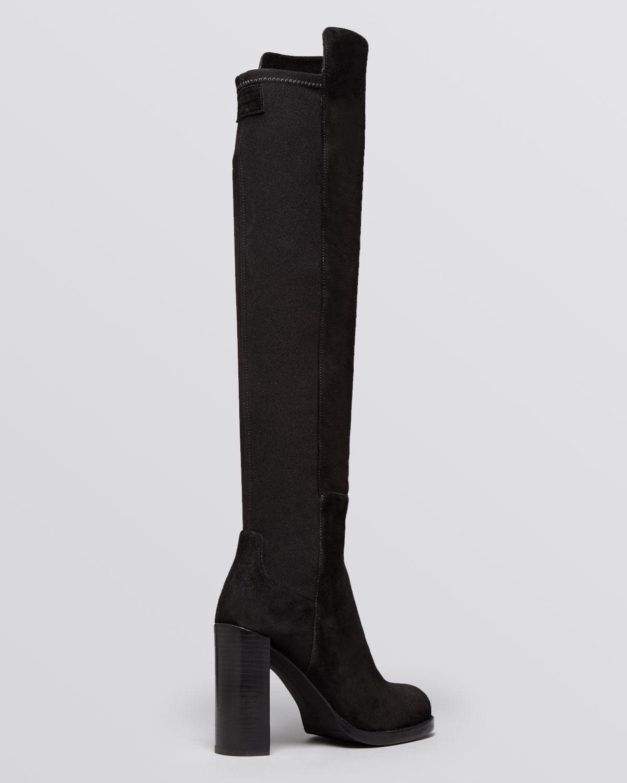 Stuart Weitzman Over The Knee Platform Boots - Hijack High Heel in Black Suede (Black)