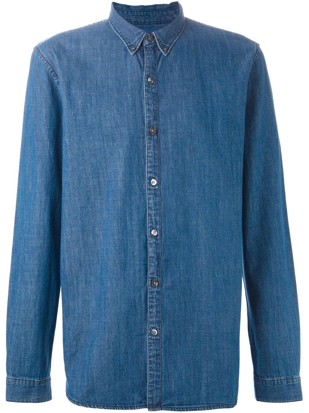 Closed Button Down Collar Denim Shirt In Blue For Men Lyst