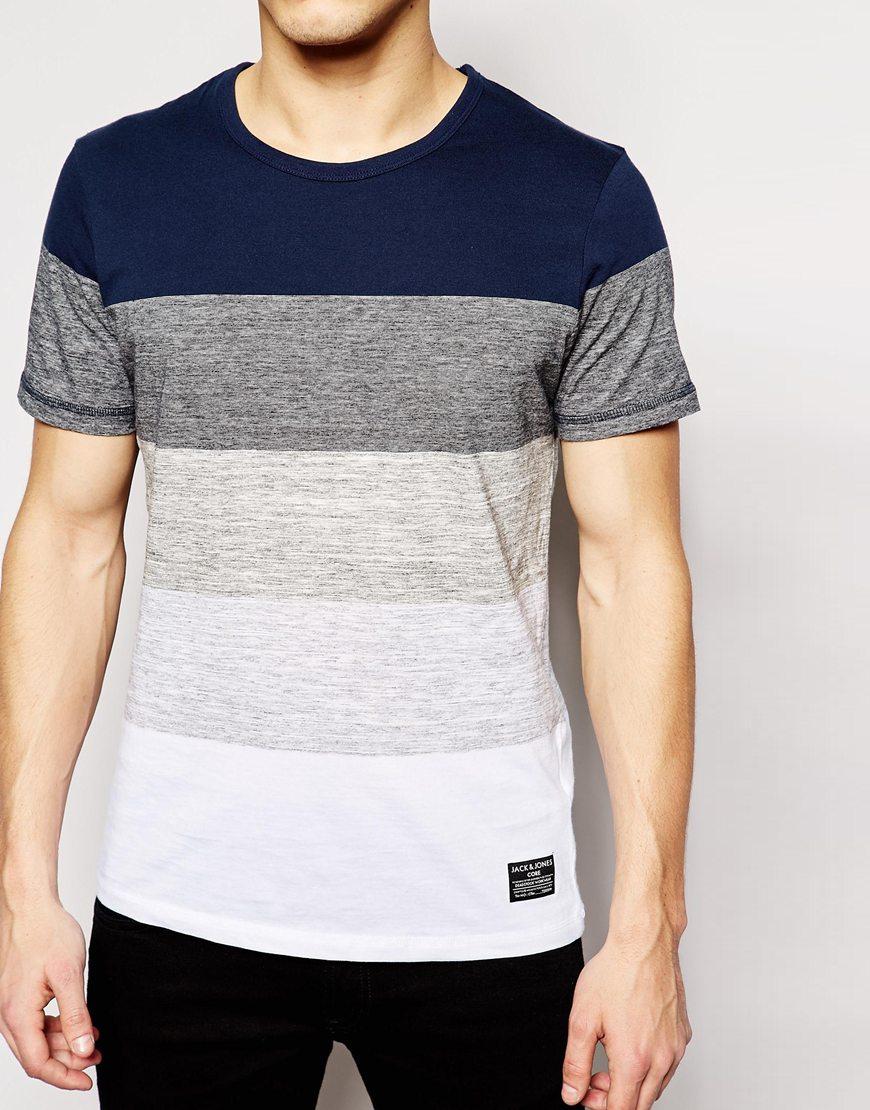 lyst jack jones stripe t shirt in blue for men. Black Bedroom Furniture Sets. Home Design Ideas