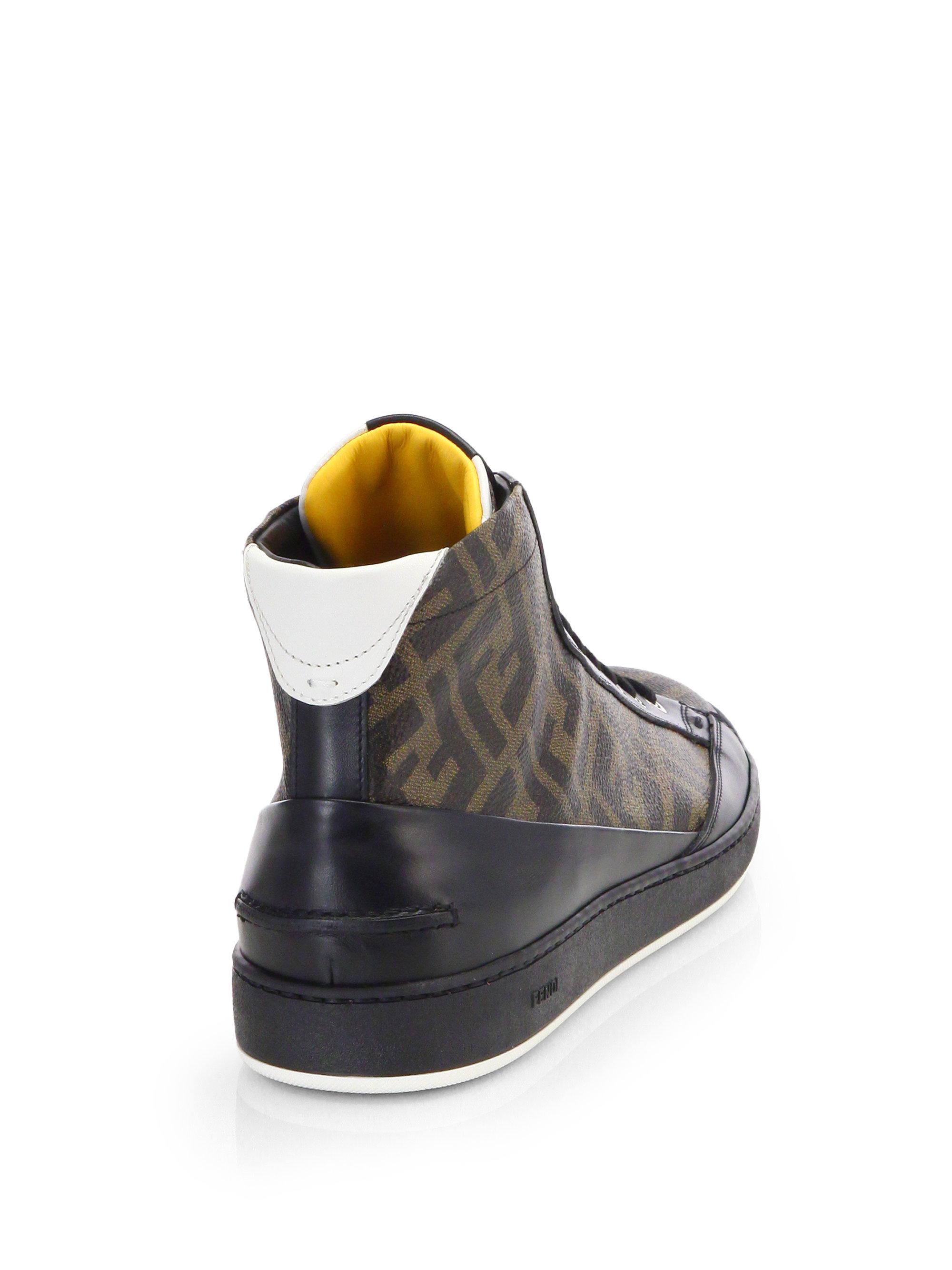 3ca732729e Fendi Brown Zucca Hightop Leather Sneaker for men
