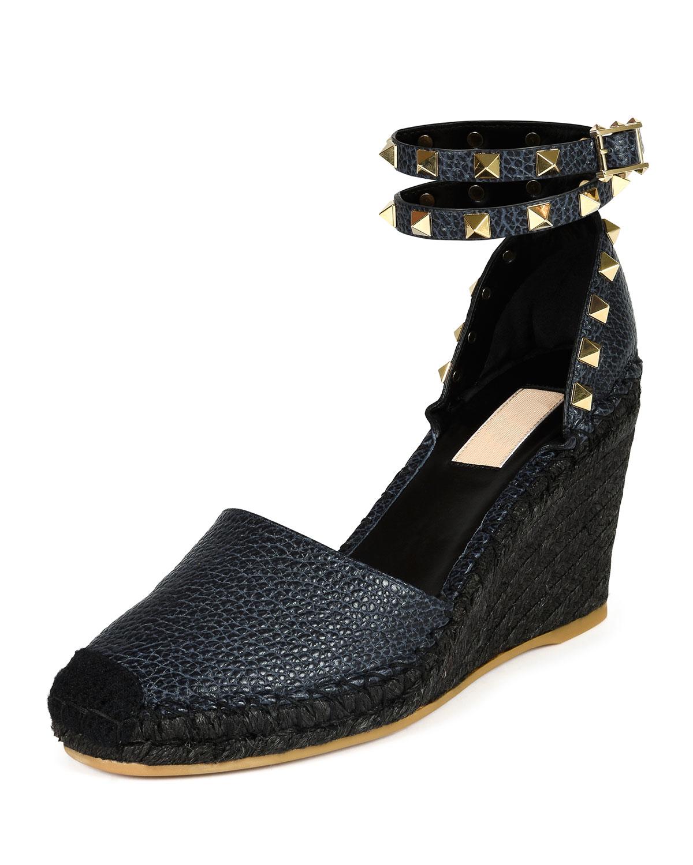 Valentino Studded Espadrille Wedge Sandals In Blue Lyst