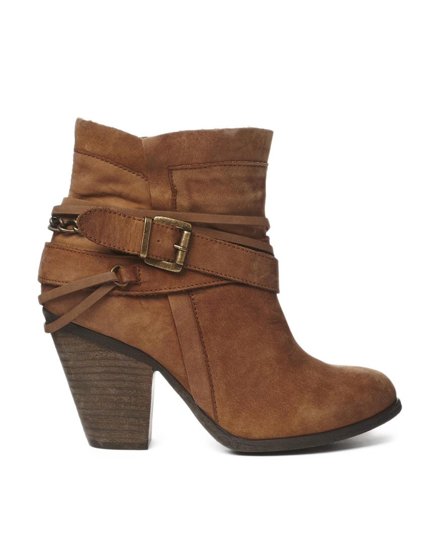 lyst steve madden strapped heeled tan ankle boots in brown