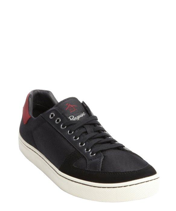 original penguin black canvas sneakers in black for