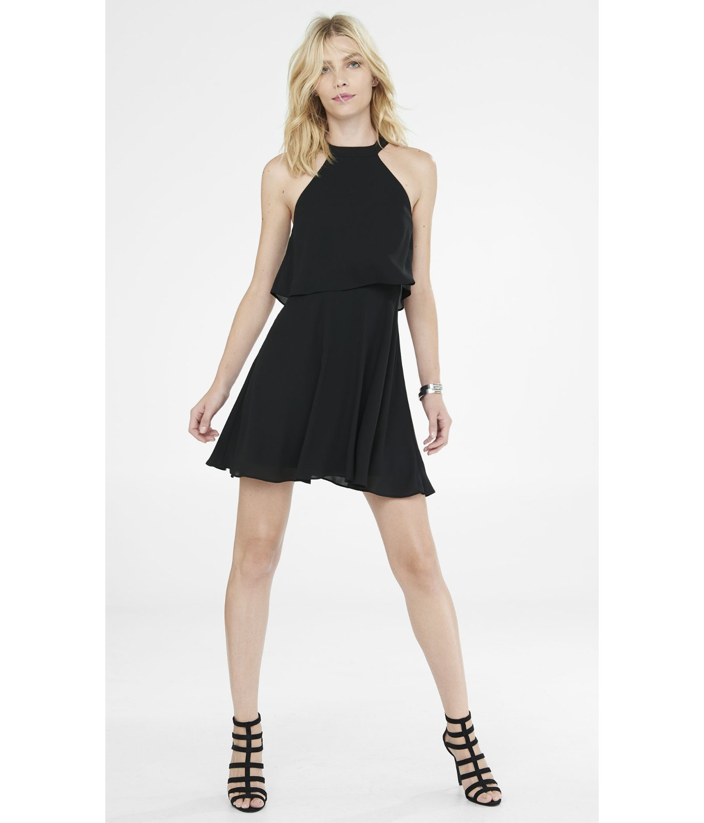 f6b99238921 Express Black High Neck Double Layer Fit And Flare Dress