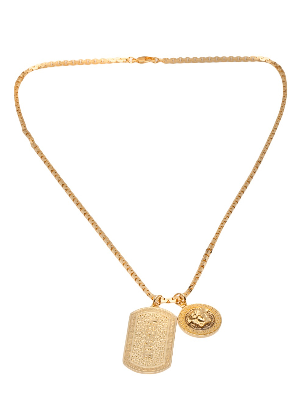 versace double dog tag necklace in gold for men metallic. Black Bedroom Furniture Sets. Home Design Ideas