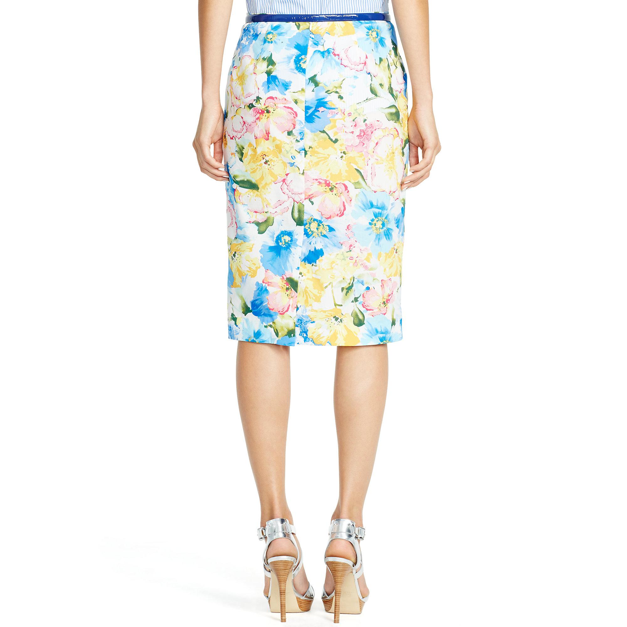 Print Ralph Lauren Blue Polo Skirt Pencil Floral X8nwkN0OP