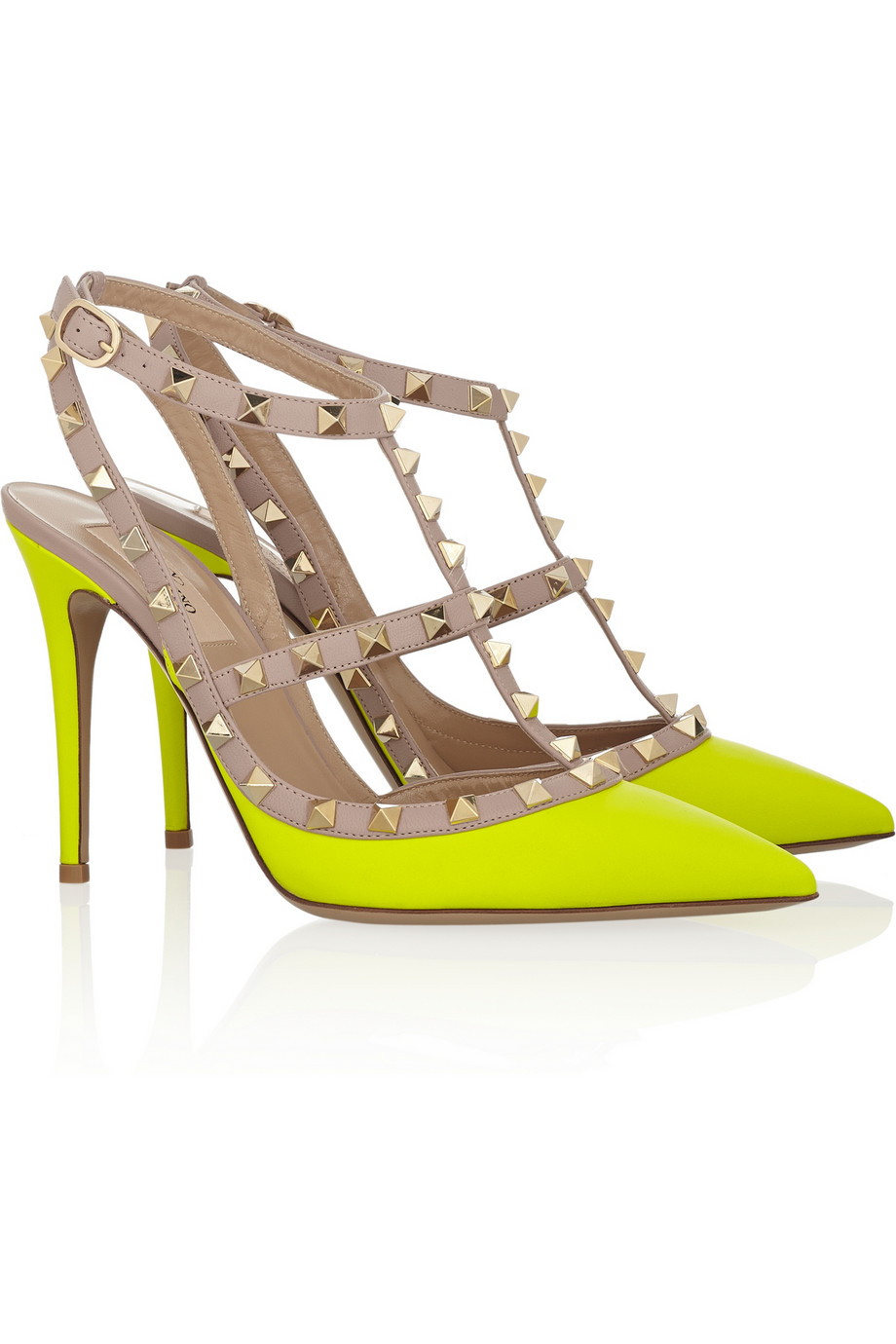 ddb56e0ce9 Valentino Rockstud Neon Leather Pumps in Yellow - Lyst