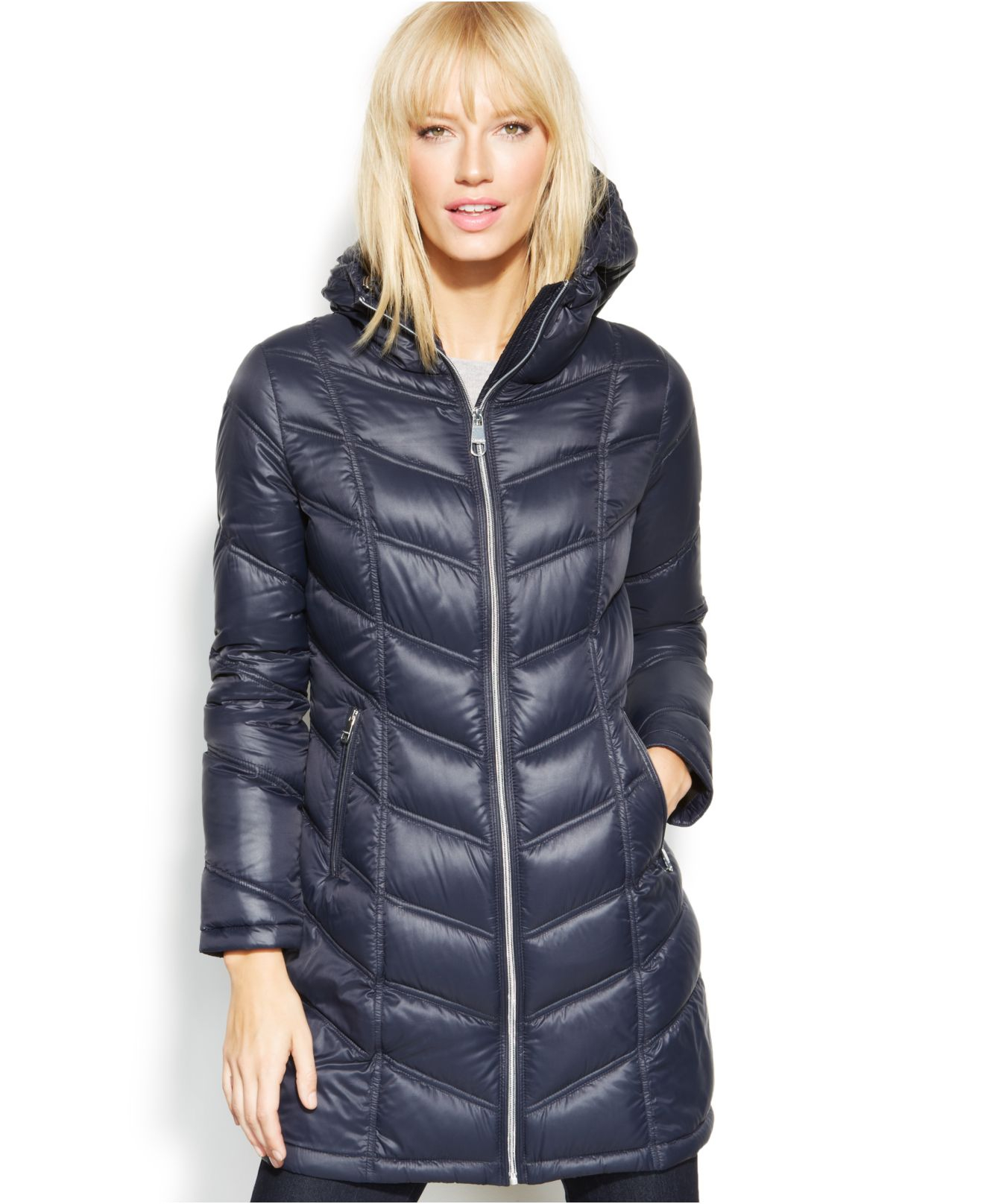 fbc8afd5f Calvin Klein Blue Quilted Down Packable Puffer Coat