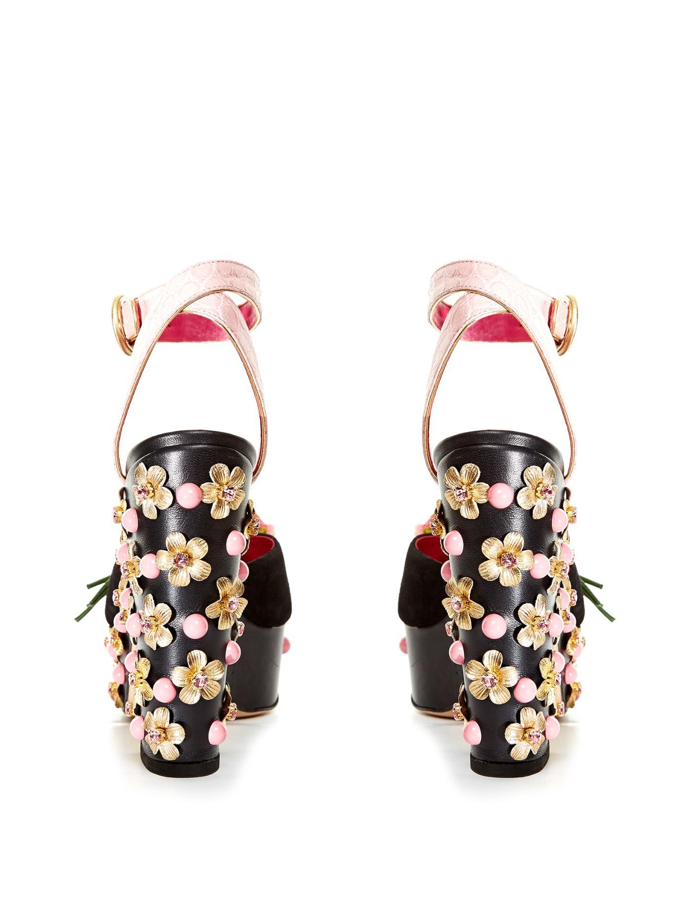 Dolce Amp Gabbana Rose Embellished Platform Sandals In Black