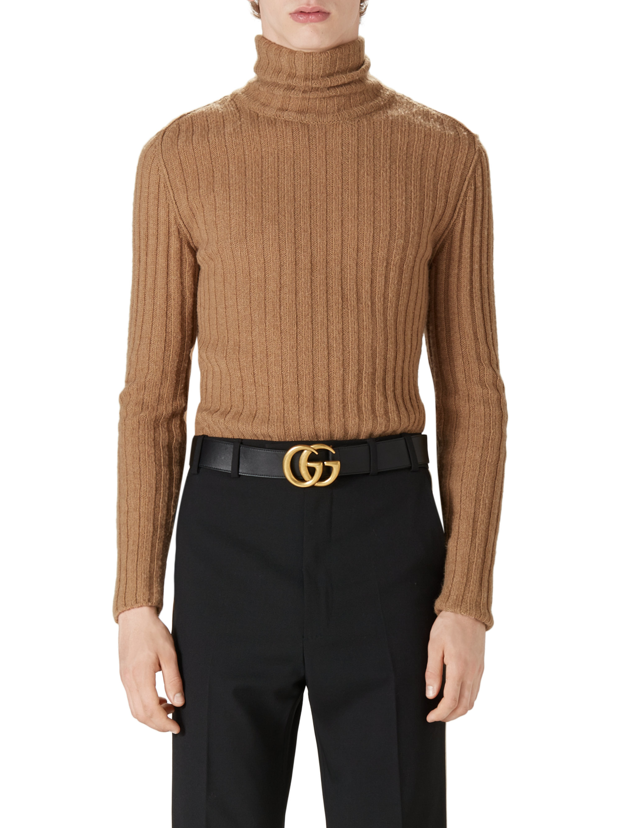 Gucci Camel Hair Ribbed Turtleneck Sweater in Natural for Men | Lyst