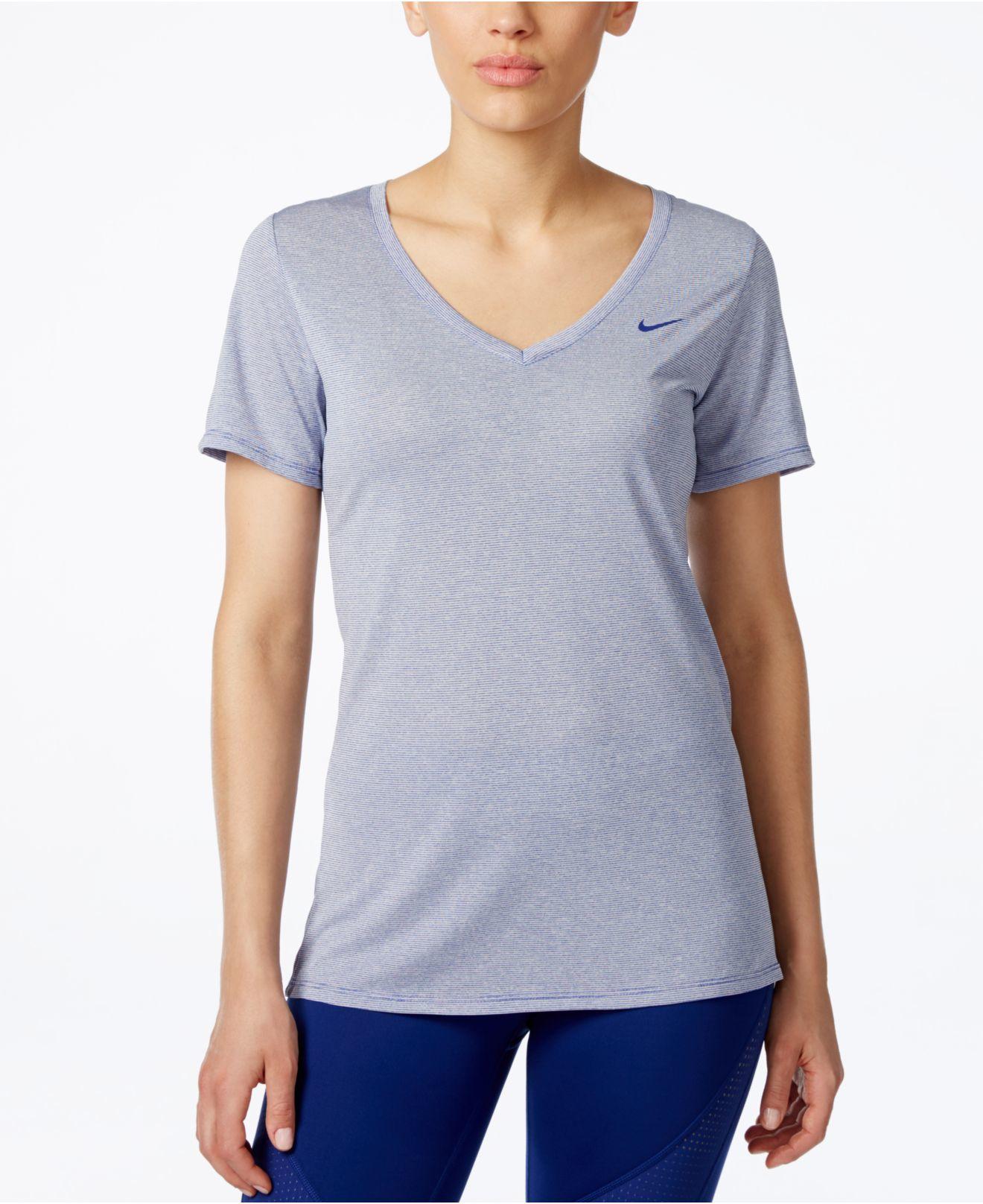 Nike legend veneer v neck dri fit t shirt in blue lyst for Dri fit t shirt design