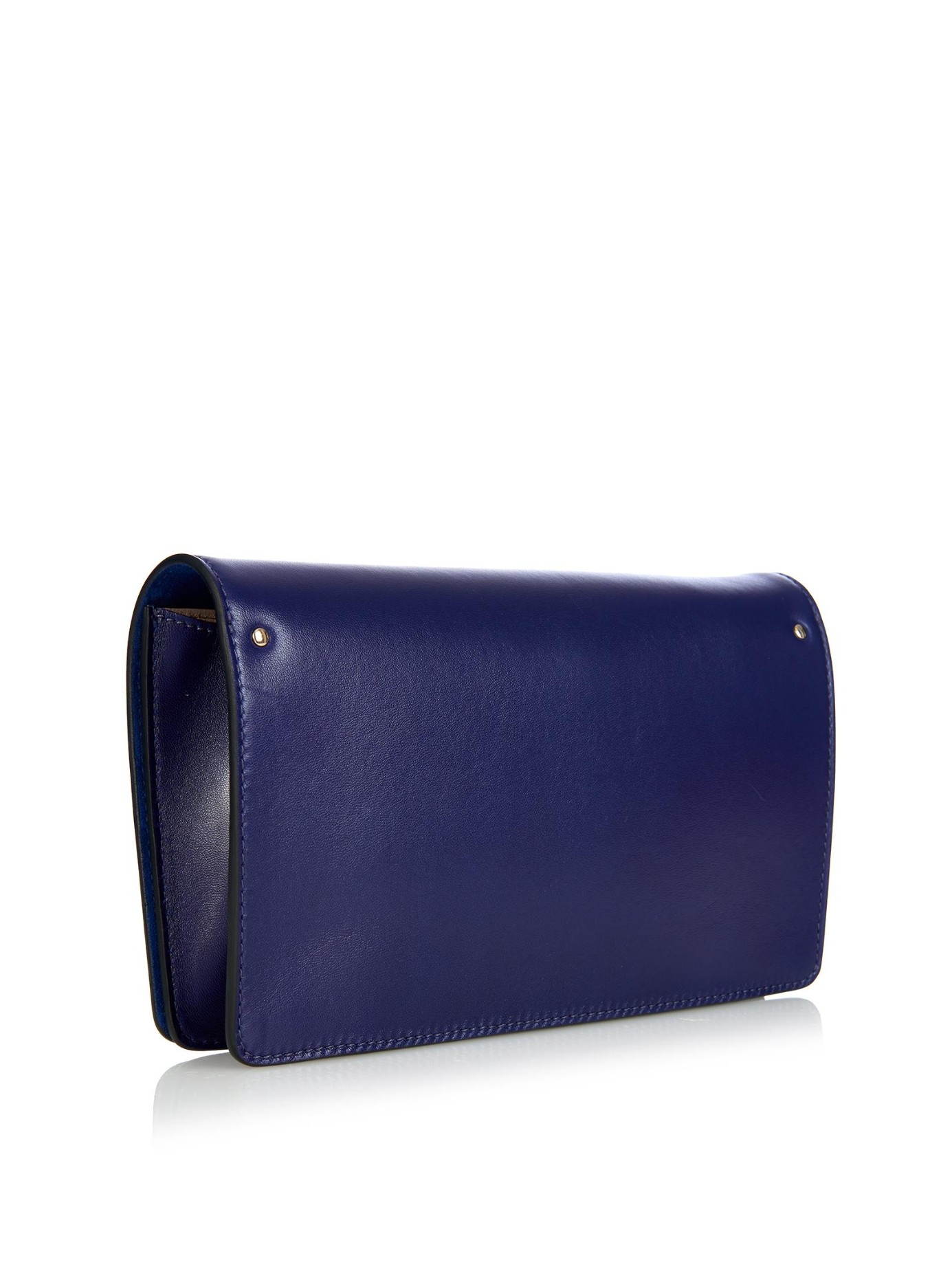 Chlo�� Gabrielle Leather And Suede Clutch in Blue | Lyst
