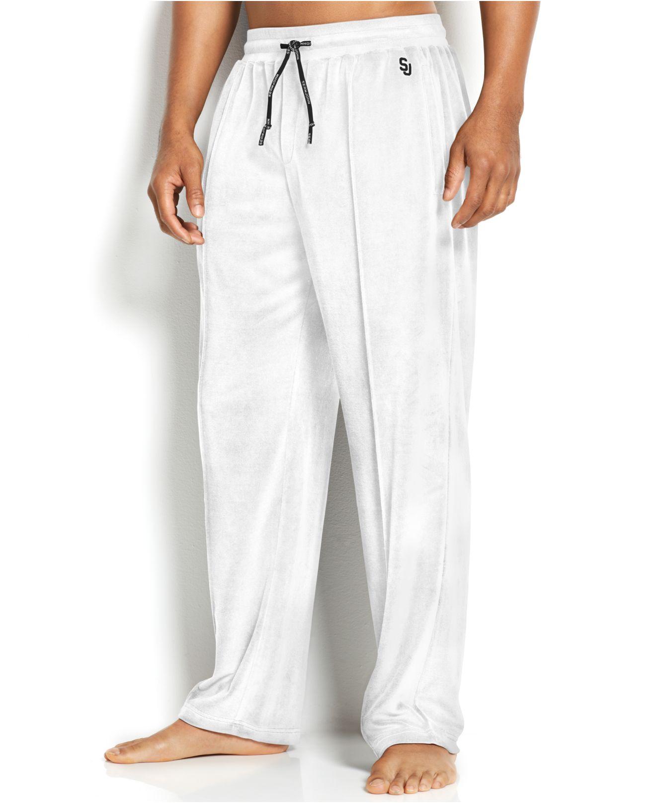 cheaper f328b c2208 Sean John Men S Velour Sweatpants in White for Men - Lyst